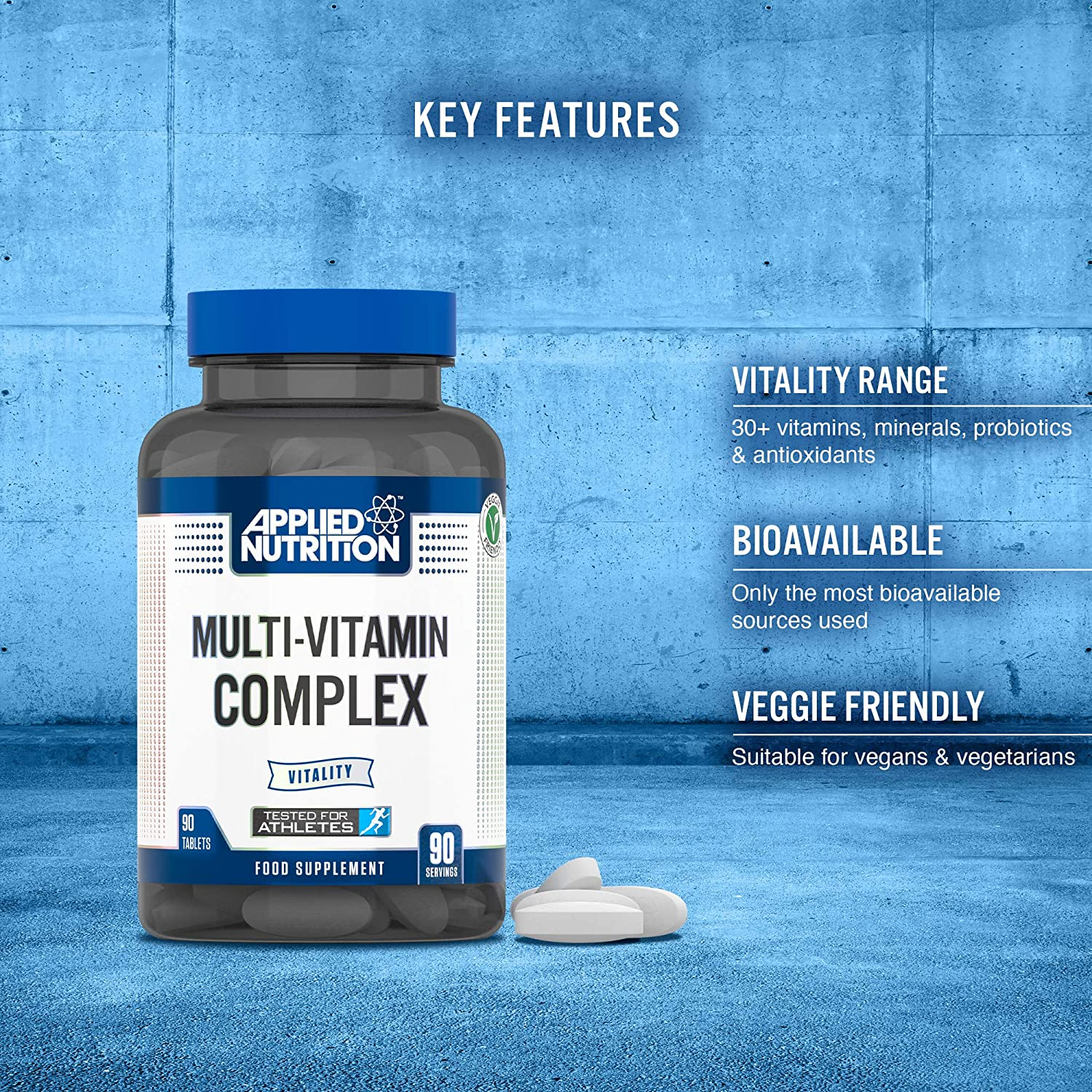 Applied Nutrition Multivitamin Complex 90 Tablets for Men & Women with 30 + Key Vits, Minerals, Probiotics & Antioxidants Including Calcium, Magnesium, Zinc and Vitamin C | Suitable for Vegans: Amazon.co.uk: Health