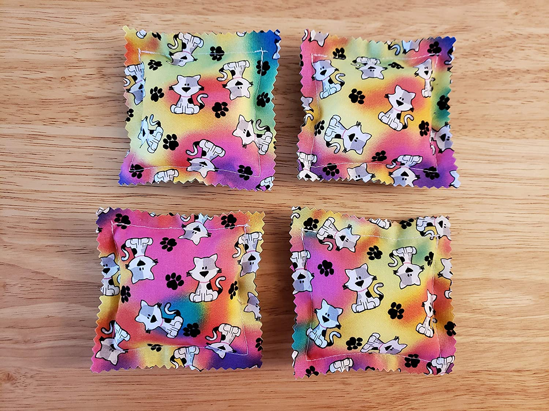 Silver Hearts Set of 4 Cat Handmade Catnip Ravioli Pillow Toys Kitty Tie-Dye
