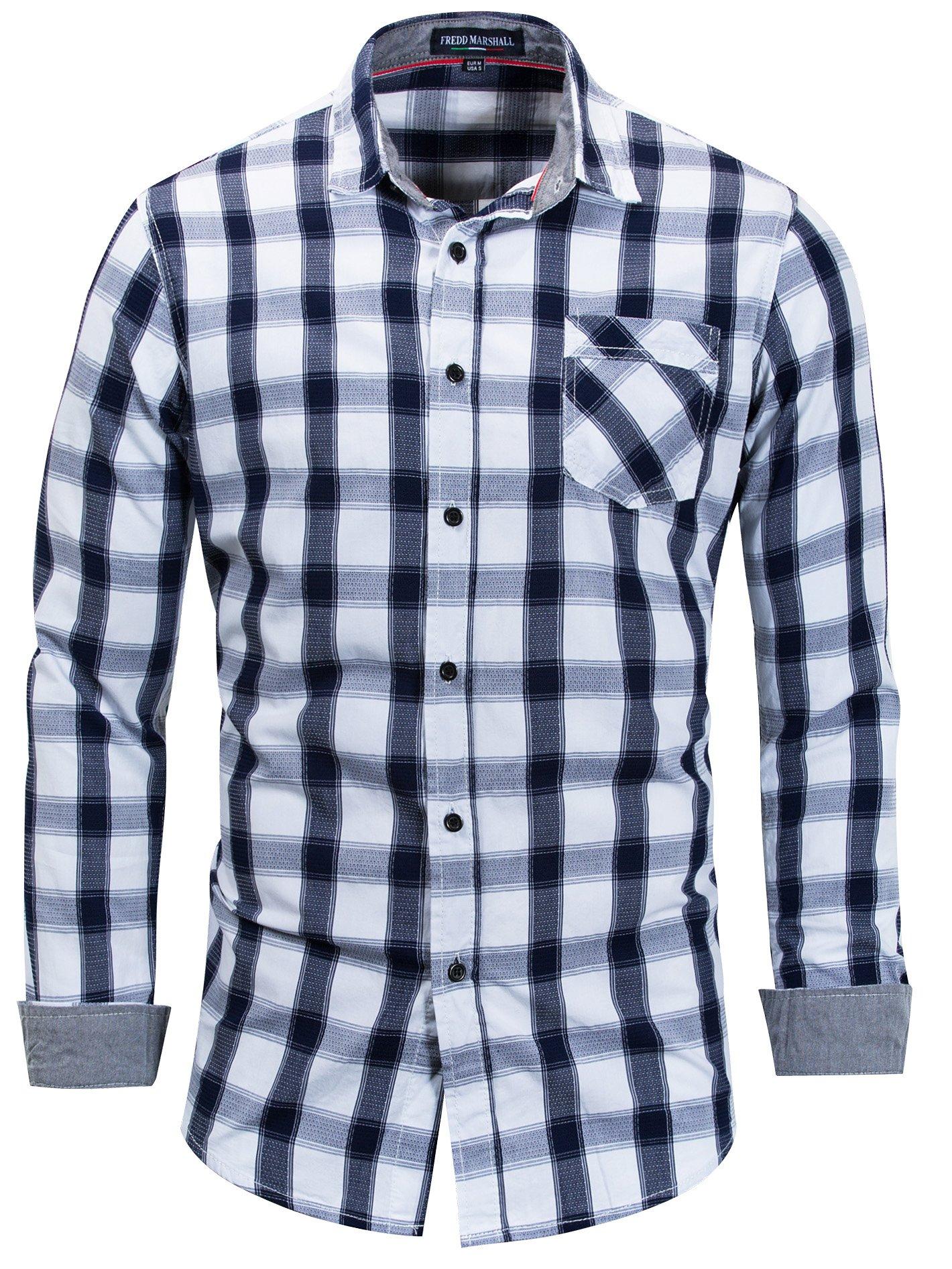Neleus Men's Cotton Casual Plaid Long Sleeve Dress Shirt,158,Blue & White,L,EU XL
