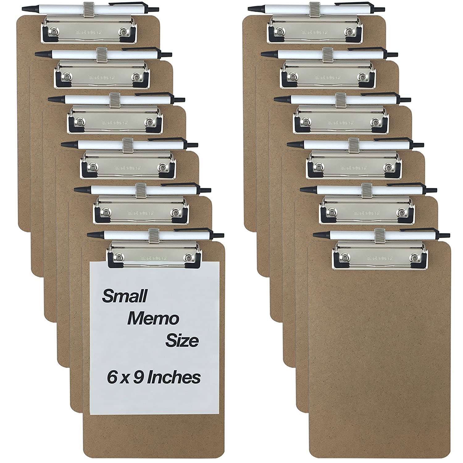 Trade Quest Pen Holder Memo Clipboards 6'' x 9'' (12 - Pack) (Pen Included) Trade Quest Global Corp