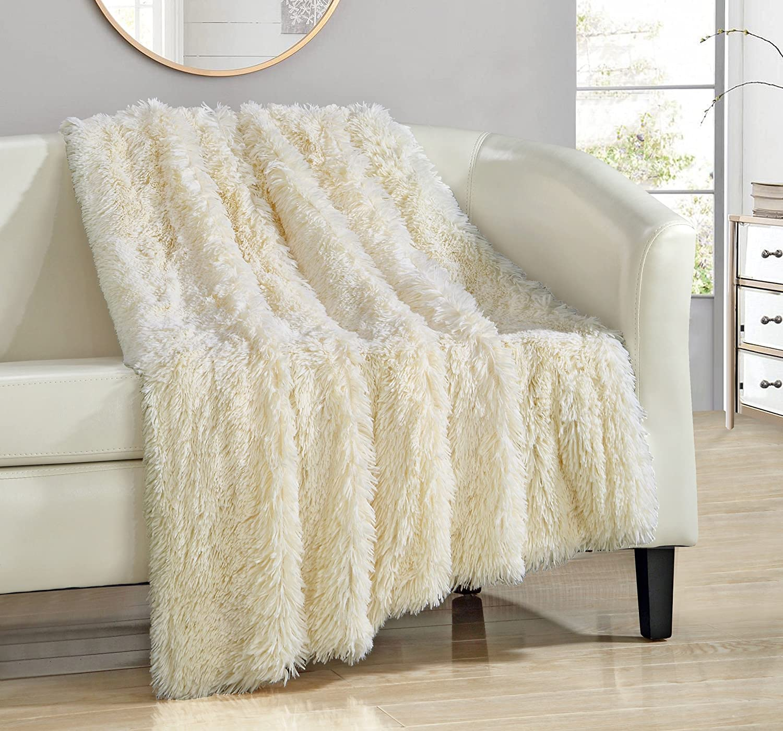 Chic Home Elana Shaggy Faux Fur Supersoft Ultra Plush Decorative Throw Blanket, 50 x 60, Beige