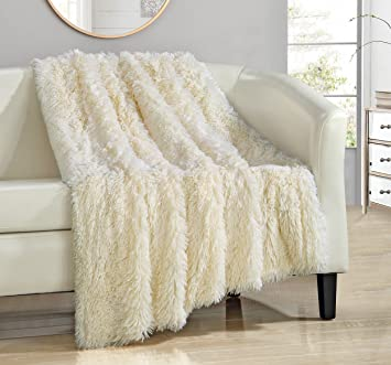 chic home elana shaggy faux fur supersoft ultra plush decorative throw blanket 50 x 60quot - Decorative Throw Blankets