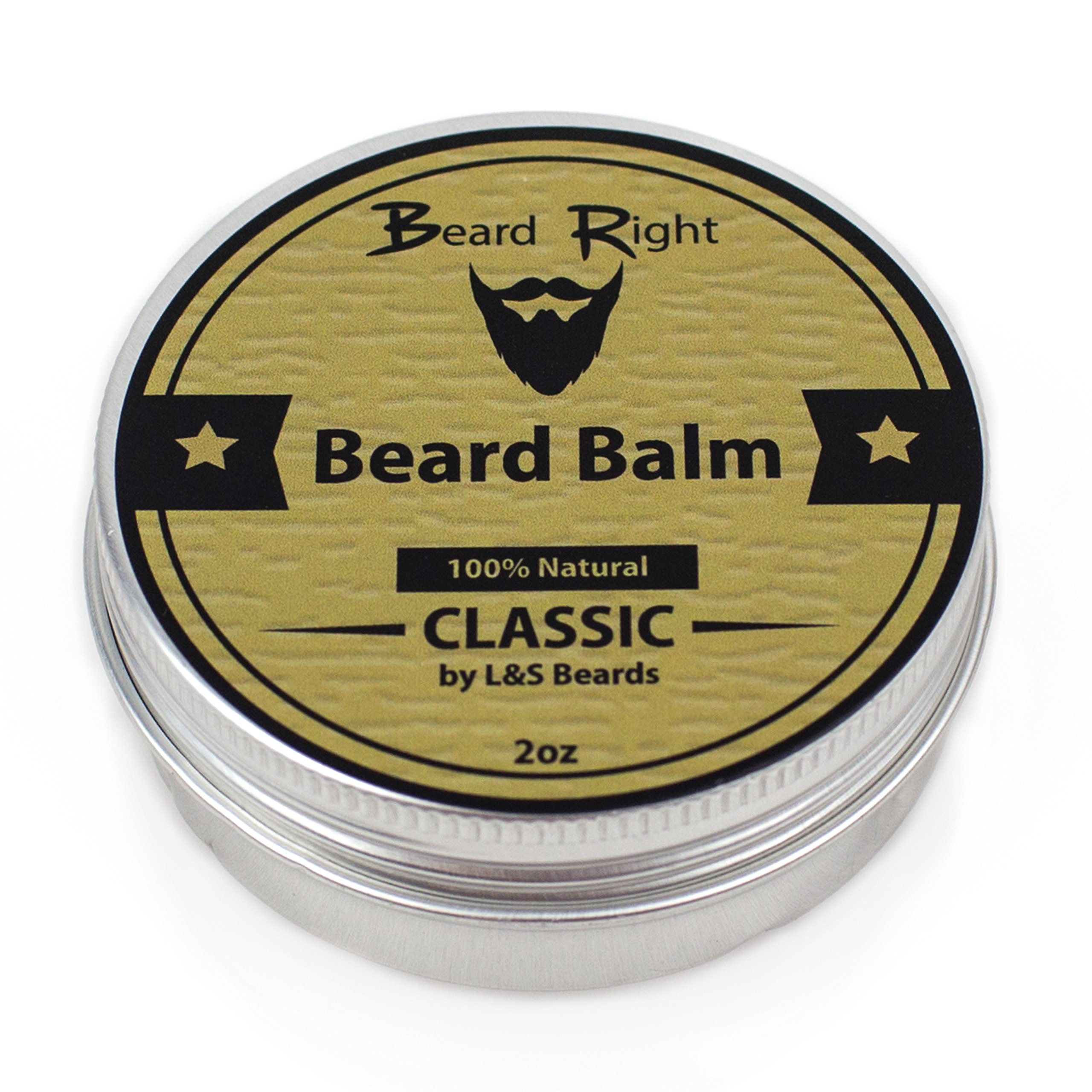 Beard Right Beard Balm Organic and Scented w/ Natural Shea Butter and Argan Oil- 2oz, Give Your Beard It's RIght