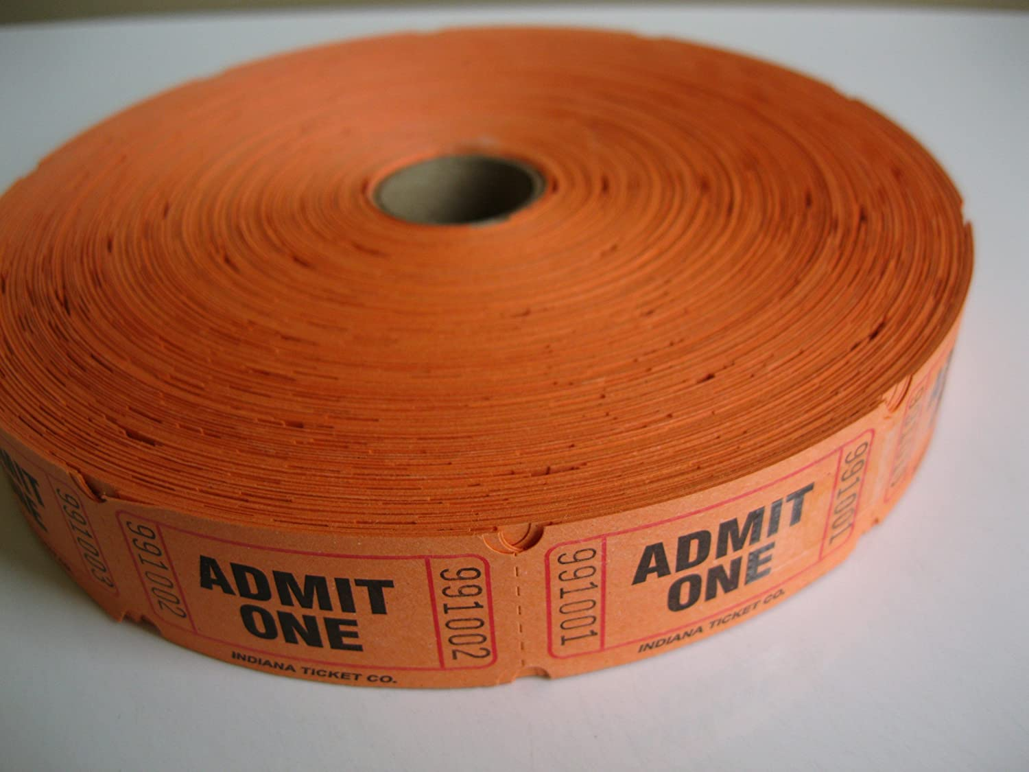 2000 Orange Admit One Single Roll Consecutively Numbered Raffle Tickets