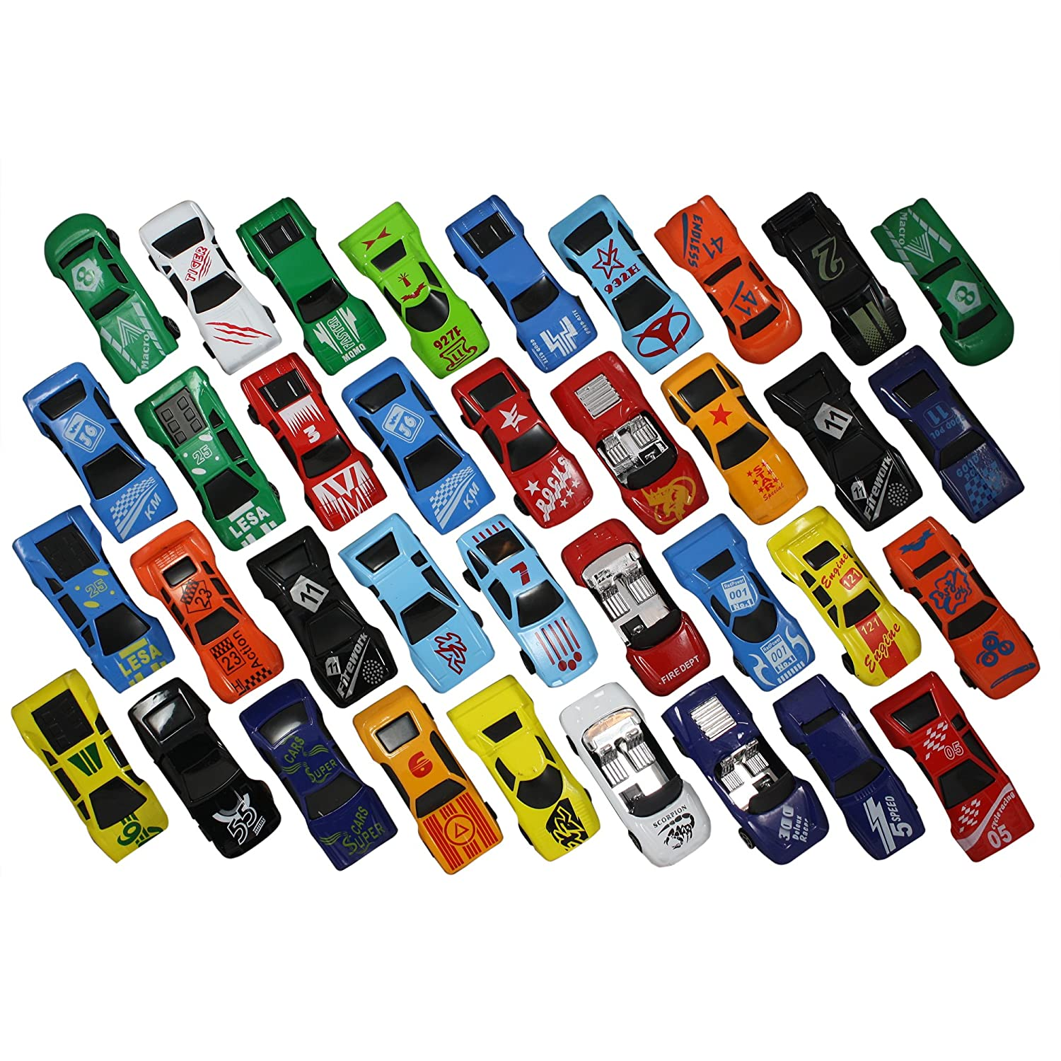 Race Car Toys Assorted for Kids Boys or Girls Free Wheeling Die Cast Metal Plastic Toy Cars Set of 36 Numbered Vehicles Convertibles Great Gift Party Favors or Cake Toppers