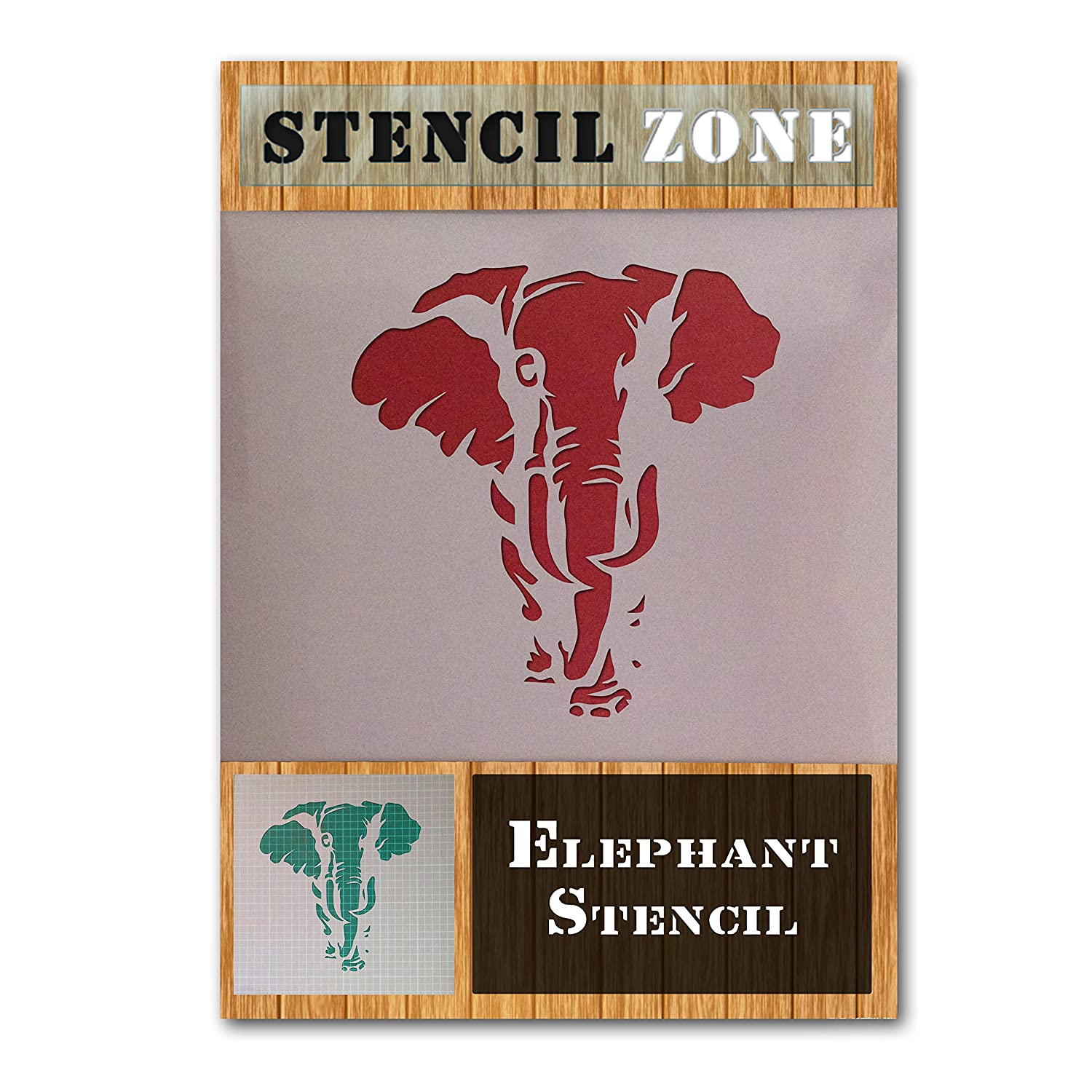 Elephant Animal Face Trunk Mylar Airbrush Painting Wall Art Crafts Stencil 4 (A1 Size Stencil - Xlarge) STENCIL ZONE