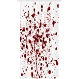 Ambesonne Horror Stall Shower Curtain, Splashes of Blood Grunge Style Bloodstain Horror Scary Zombie Halloween Themed Print,