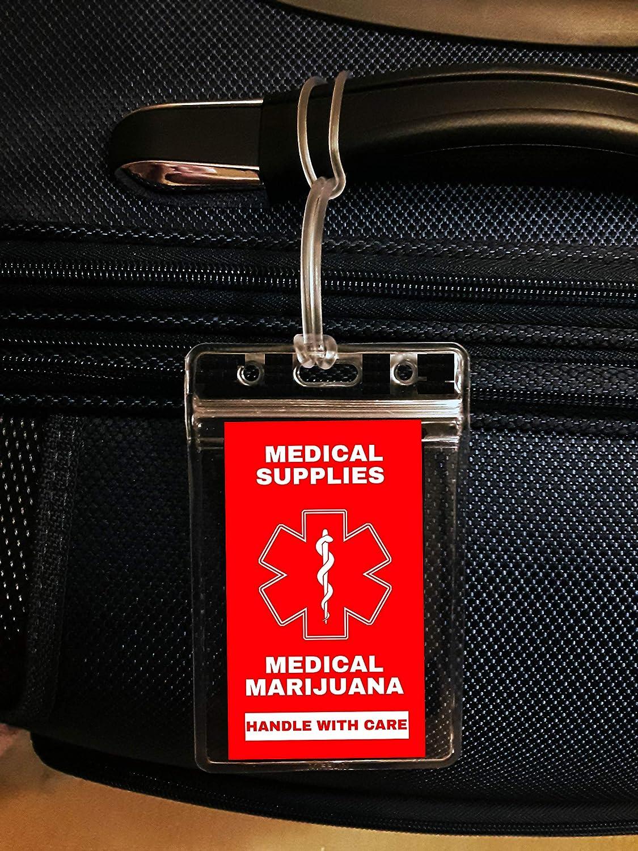 Quantity 4 DOT and ACAA regulations MELT-123 Handle with Care Medical Marijuana Medical Alert Supplies Luggage Tag