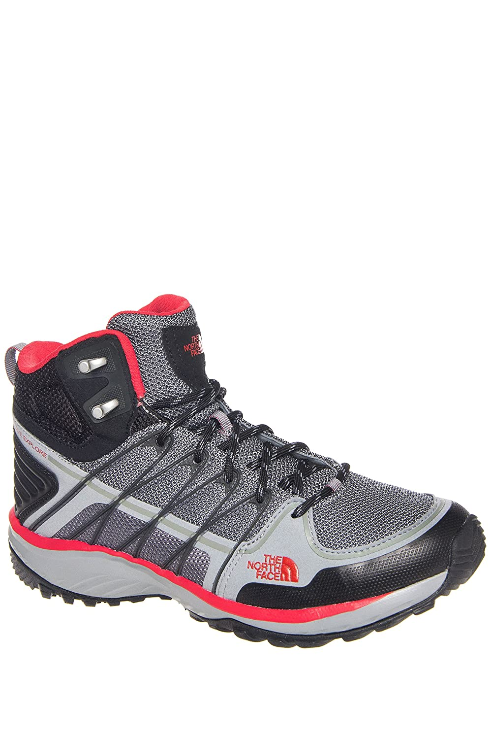 The North Face Litewave Explore Mid Monument Grey/Pompeian Red Men's Hiking Boots