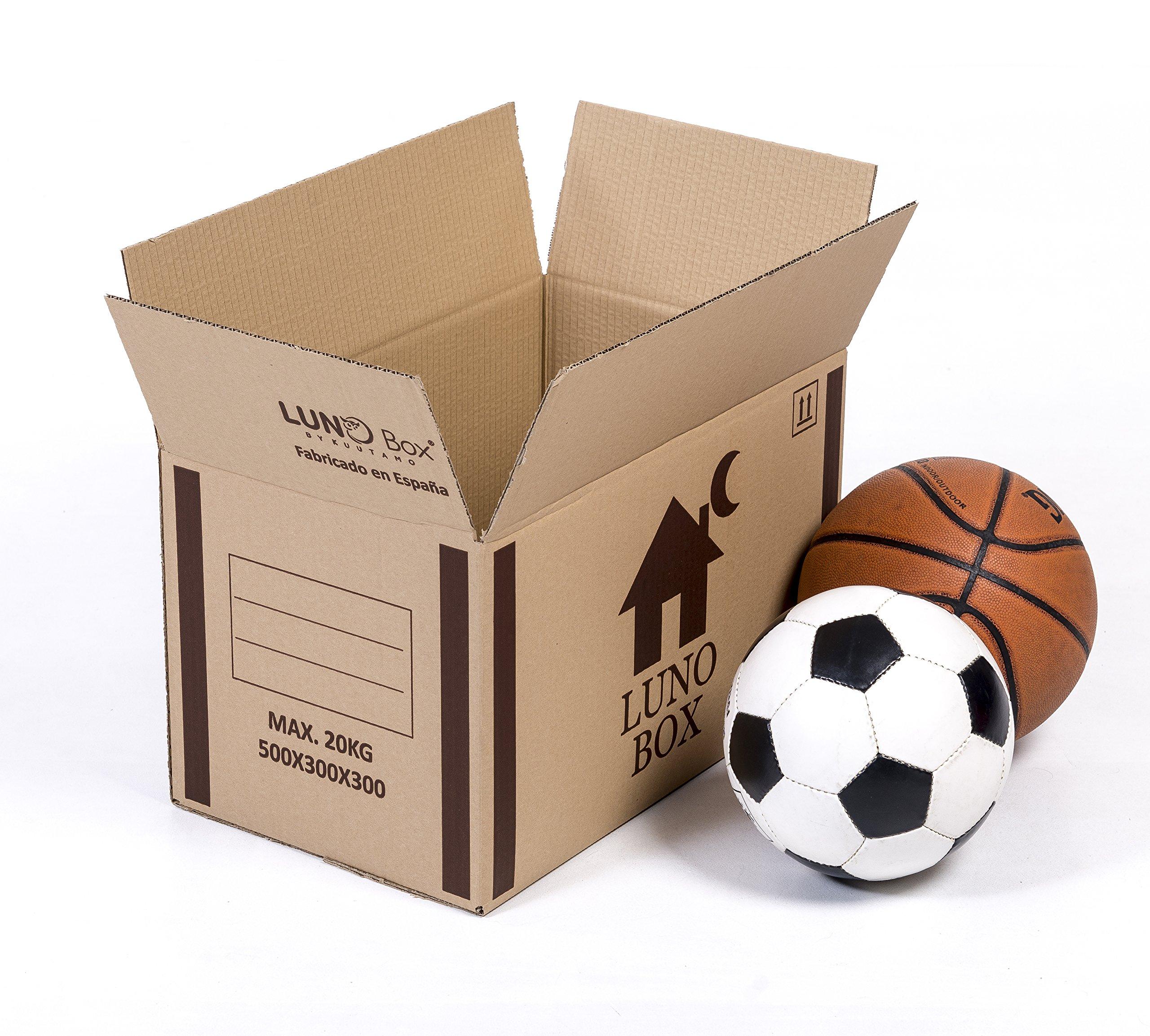 Pack de 10 Cajas de Cartón Mudanza Resistente - Canal Simple de Calidad Superior Reforzado - Tamaño 500 x 300 x 300 mm - Mudanza - Embalaje - Almacenaje - Color Marrón - Fabricadas en España