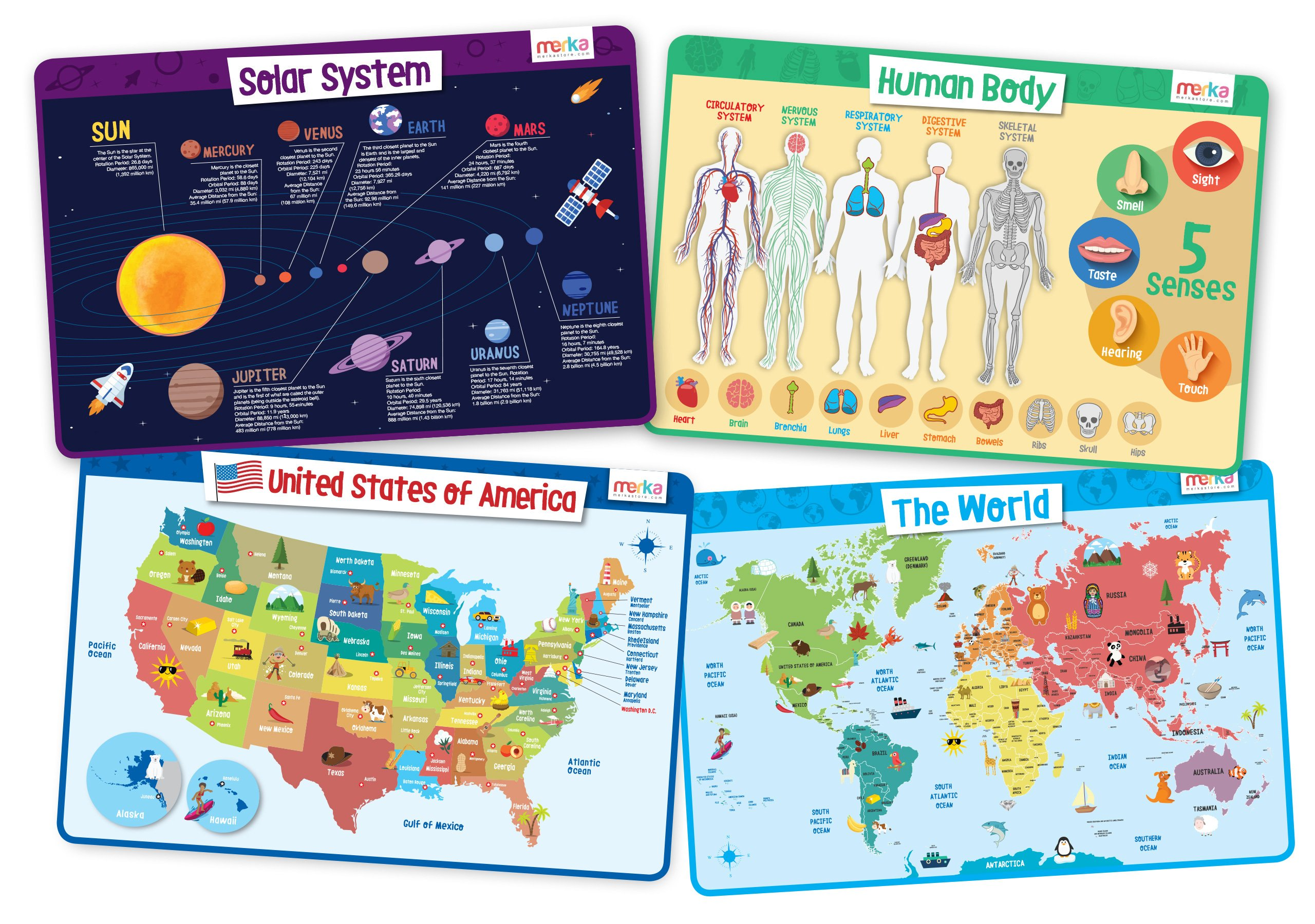 merka Explorer Set - Educational Kids Placemats Set of 4: Body, USA, World, Solar System - Bundle - Non Slip Washable