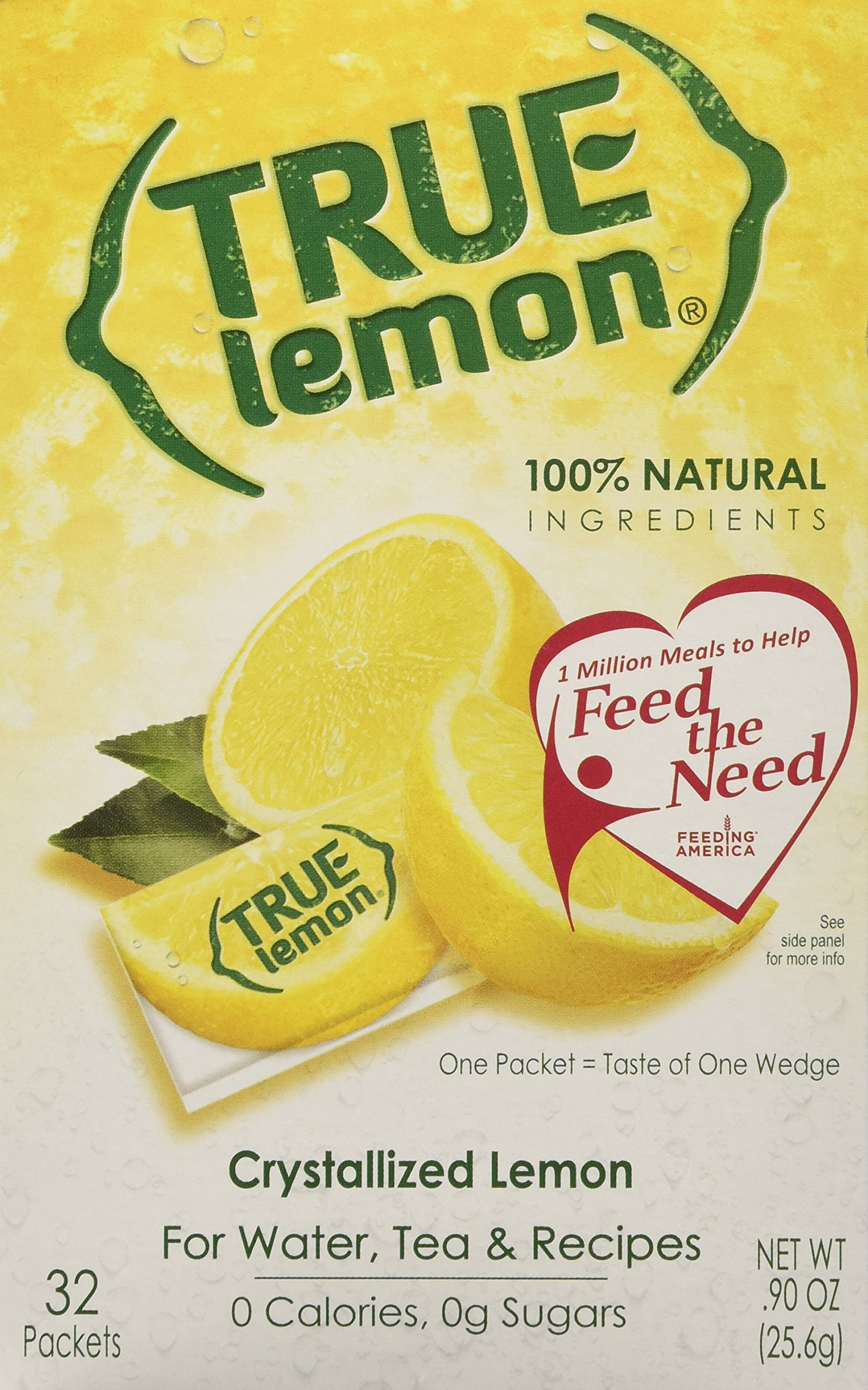 True Lemon Crystalized Lemon 32 Packet Box (3 Pack)= 96 Single Packets .90 oz