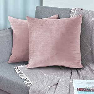 SMILETIME Bamboo Velvet Pillow Covers Set of 2 Square Throw Pillowcase Decorative Soft Solid Cushion Case for Christmas and Home Decor, Sofa, Couch, Bedroom and Car (18 x 18 Inch, Slubbed Pink)