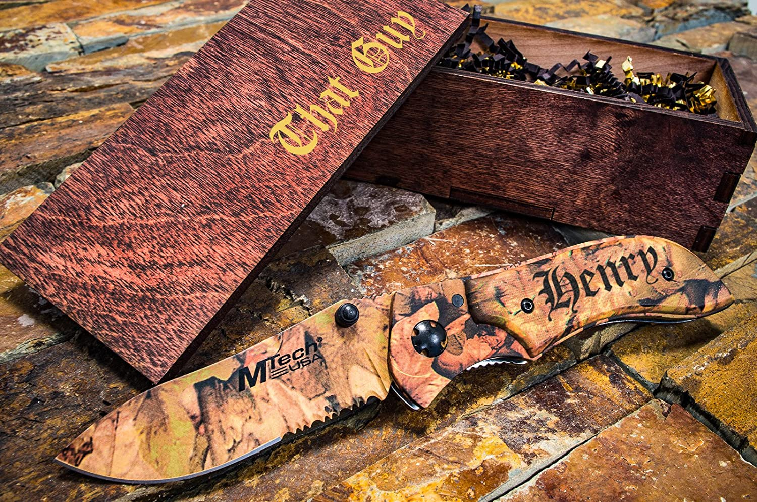Personalized Camo Knife Engraved Wooden Gift Box Custom Boxes Pocket Knives Groomsmen Set Camouflage Groomsman Husband Wood Hunting Man Mens Boyfriend Wedding Gifts Folding Rustic Locks Open