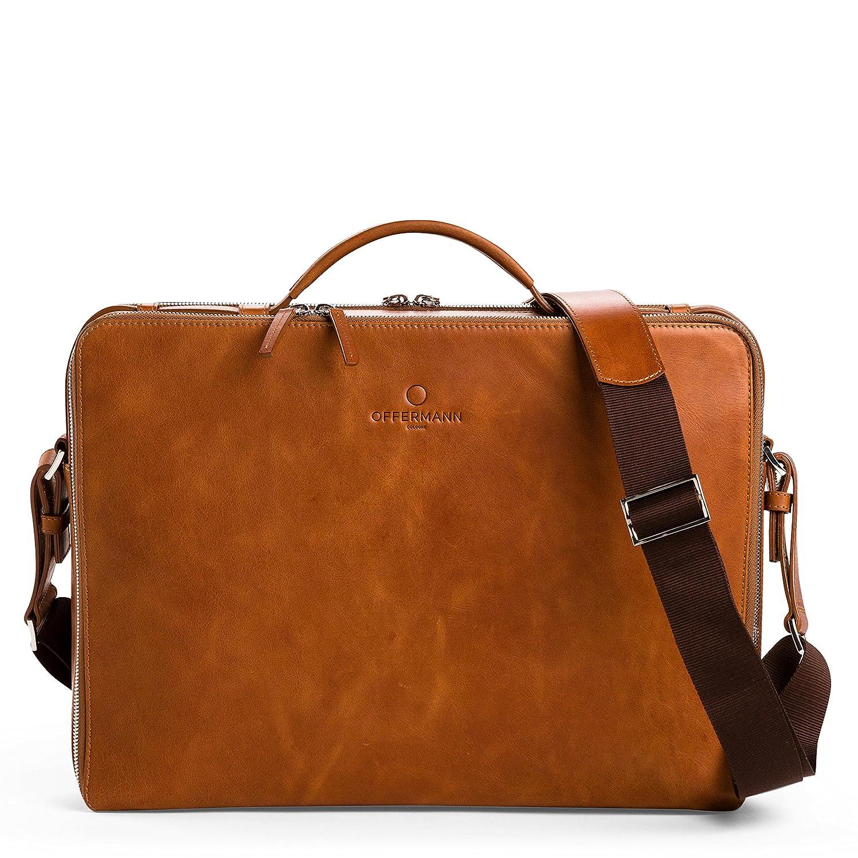 b81673146b2da OFFERMANN Ledertasche Businesstasche Workbag L als Aktentasche und  Umhängetasche braun  Amazon.de  Bürobedarf   Schreibwaren