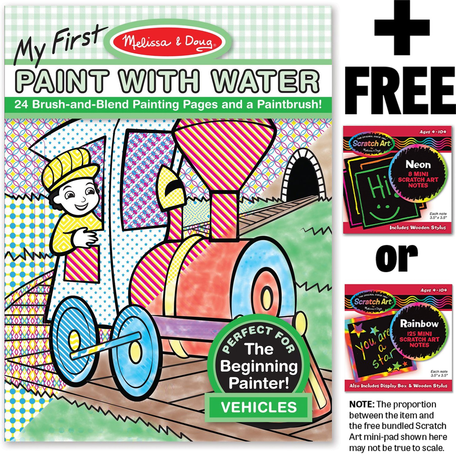 Melissa & Doug Vehicles: Color with Water Only Art Activity Pad + FREE Scratch Art Mini-Pad Bundle [93392]