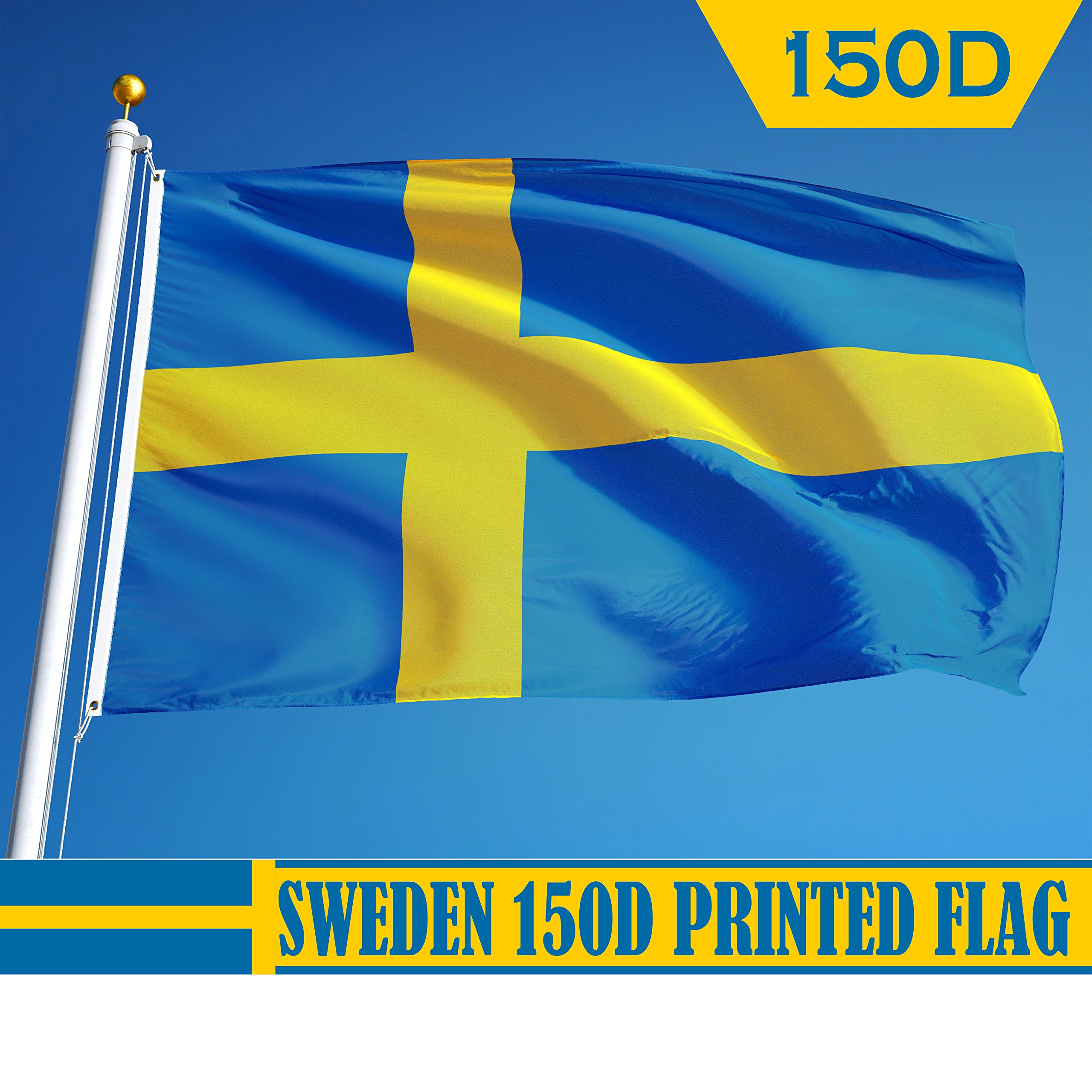 G128 - Sweden Swedish Flag 3x5 ft Printed Brass Grommets 150D Quality Polyester Flag Indoor/Outdoor - Much Thicker and More Durable than 100D and 75D Polyester