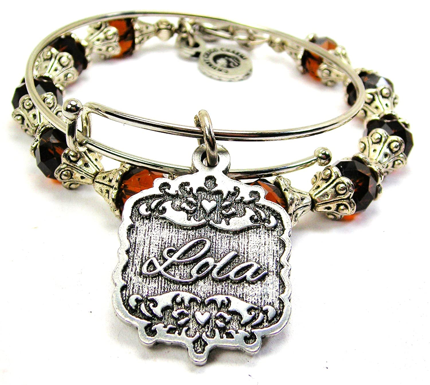 Chubby Chico Charms Lola Victorian Scroll Capped Crystal Bracelet in Chocolate Brown
