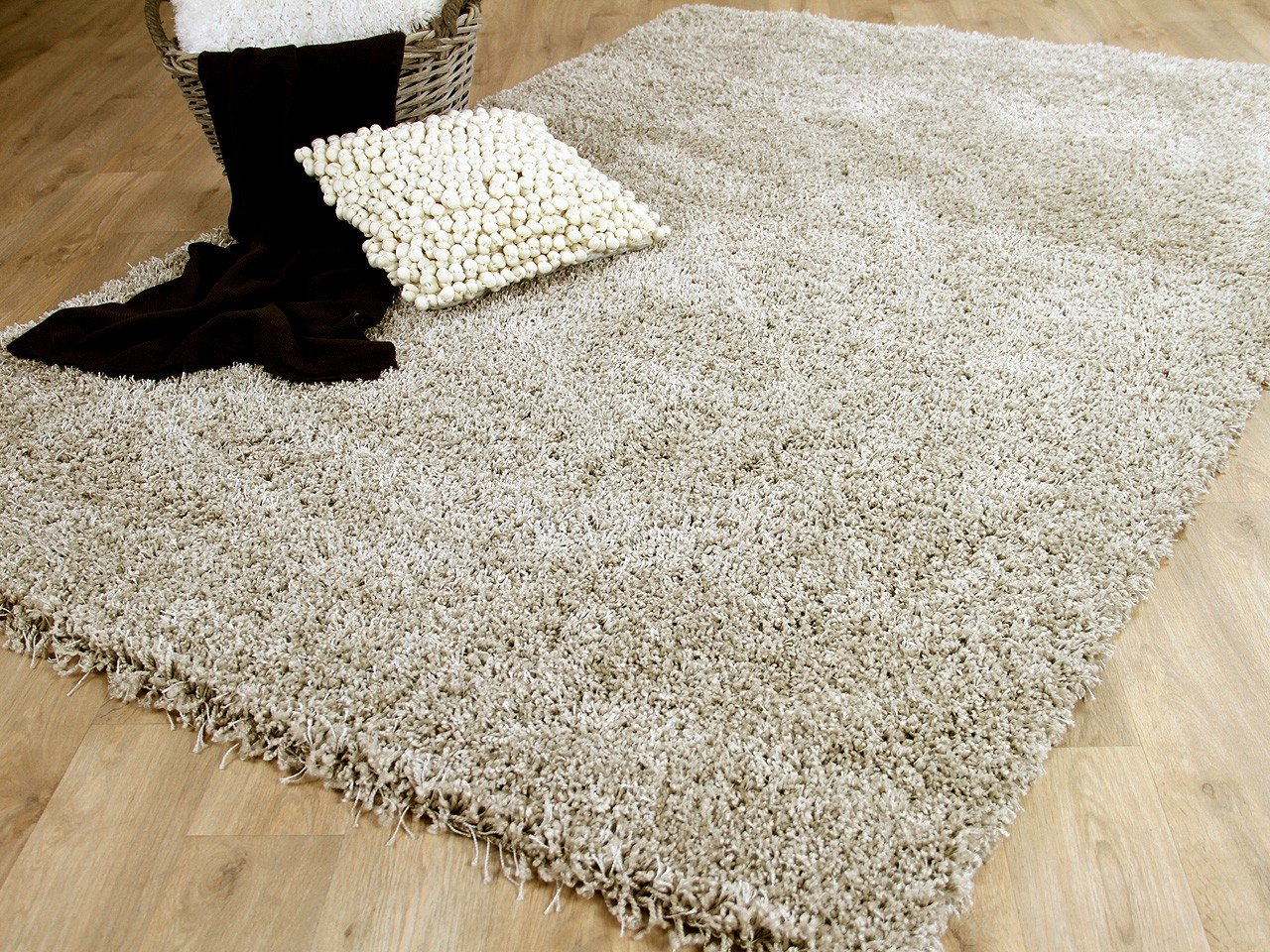 Unbekannt Hochflor Langflor Shaggy Teppich Luxury Beige in 6 Größen ROTUZIERT