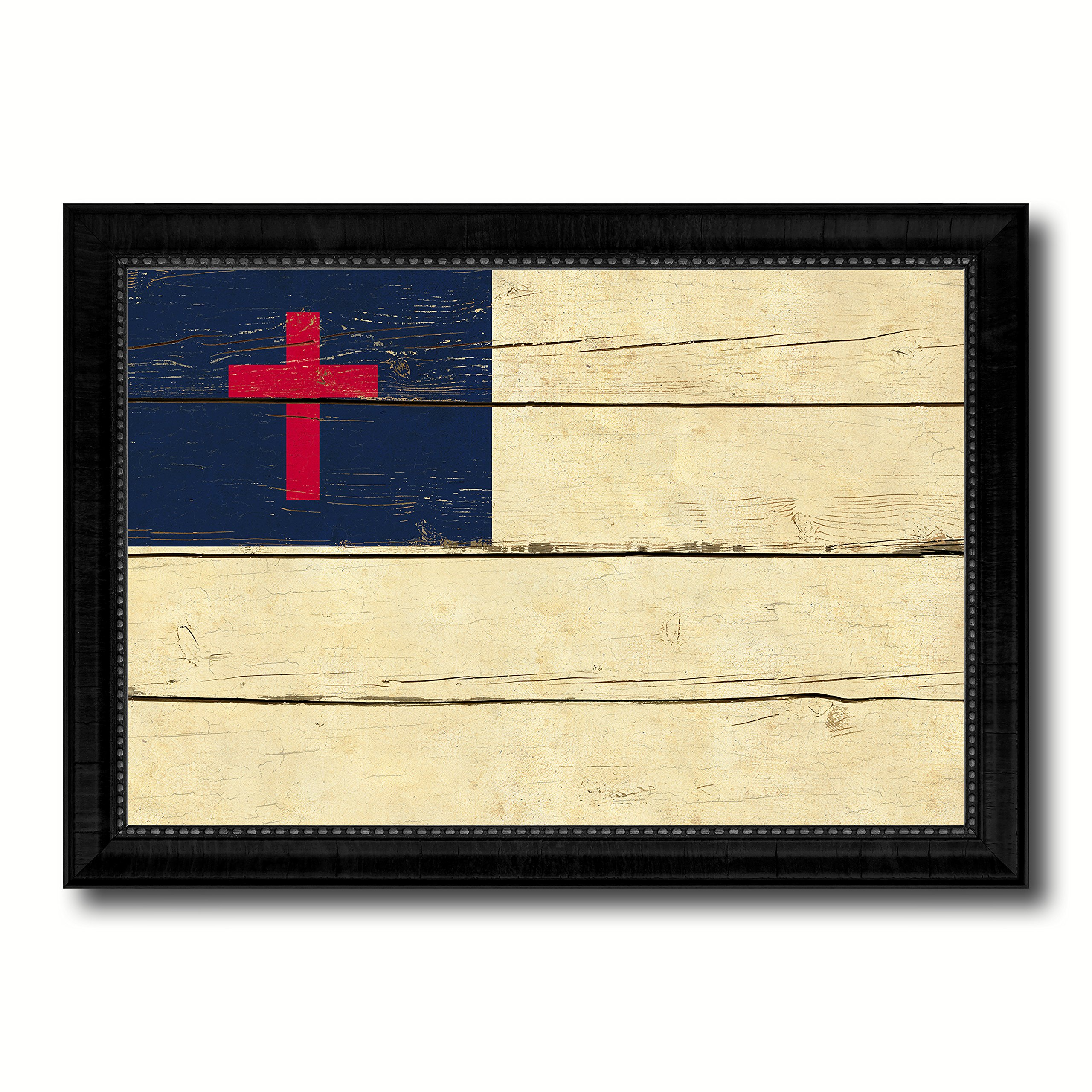 Kayso Christian Religious Military Vintage Flag Black Framed Canvas Print Home Decor Wall Art Gifts Signs Cards 27''x39''