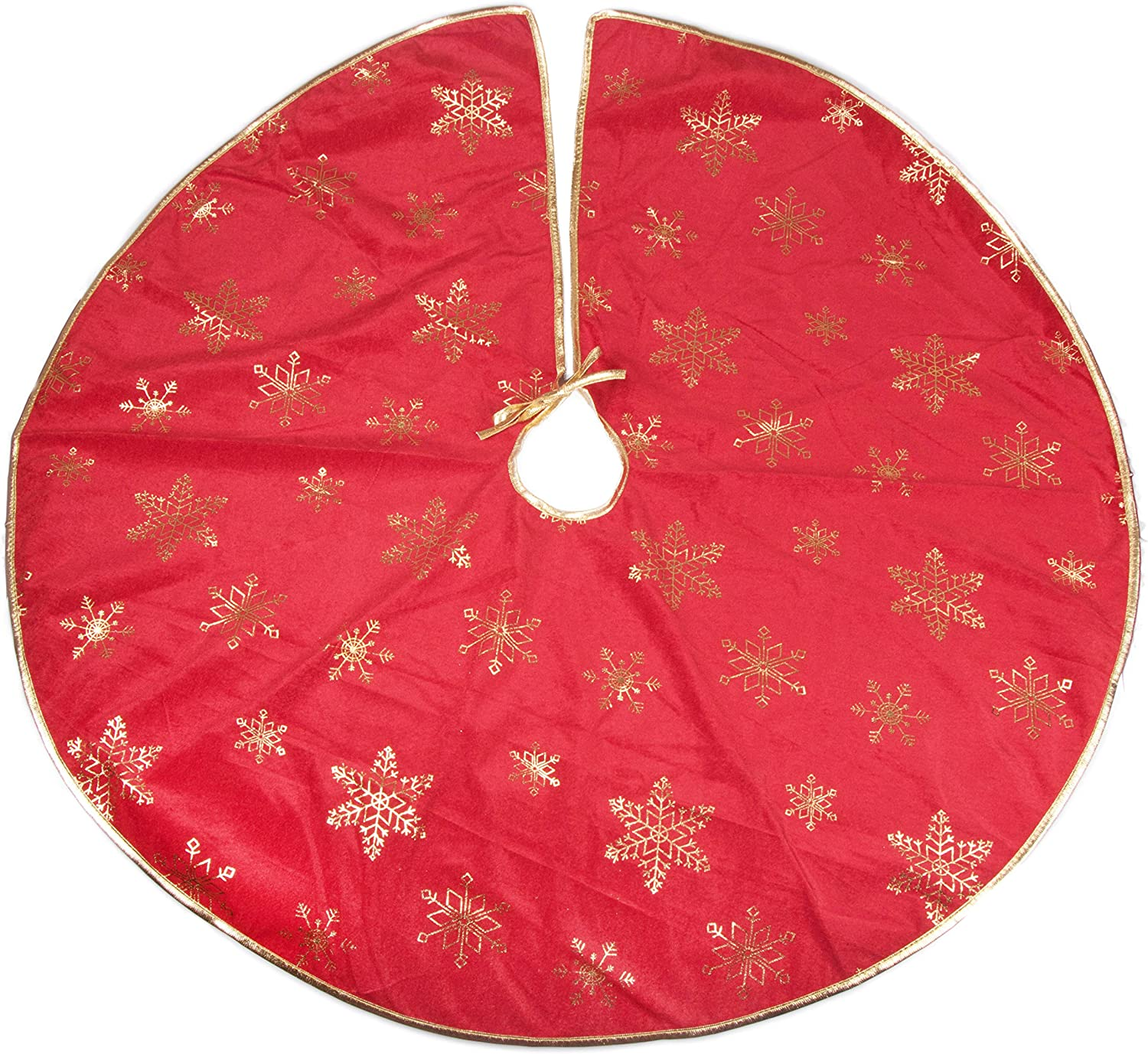 Clever Creations Red and White Christmas Tree Skirt Design with Santa and Snowman Perfect for Any Size Tree Classic Holiday Decor Catches Falling Needles Aids in Cleanup 42 Diameter