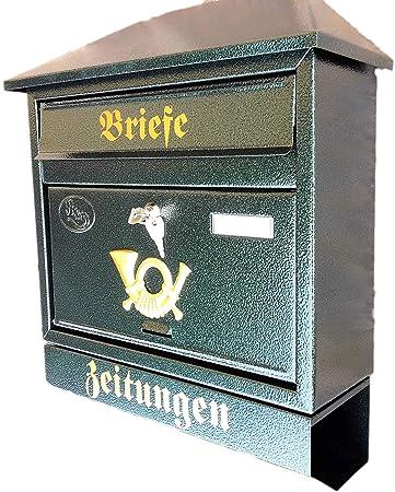 Gro/ßer Briefkasten Postkasten XXL Din A4 Gr/ün Dunkelgr/ün mit Zeitungsrolle Flachdach Katalogeinwurf Zeitungsfach