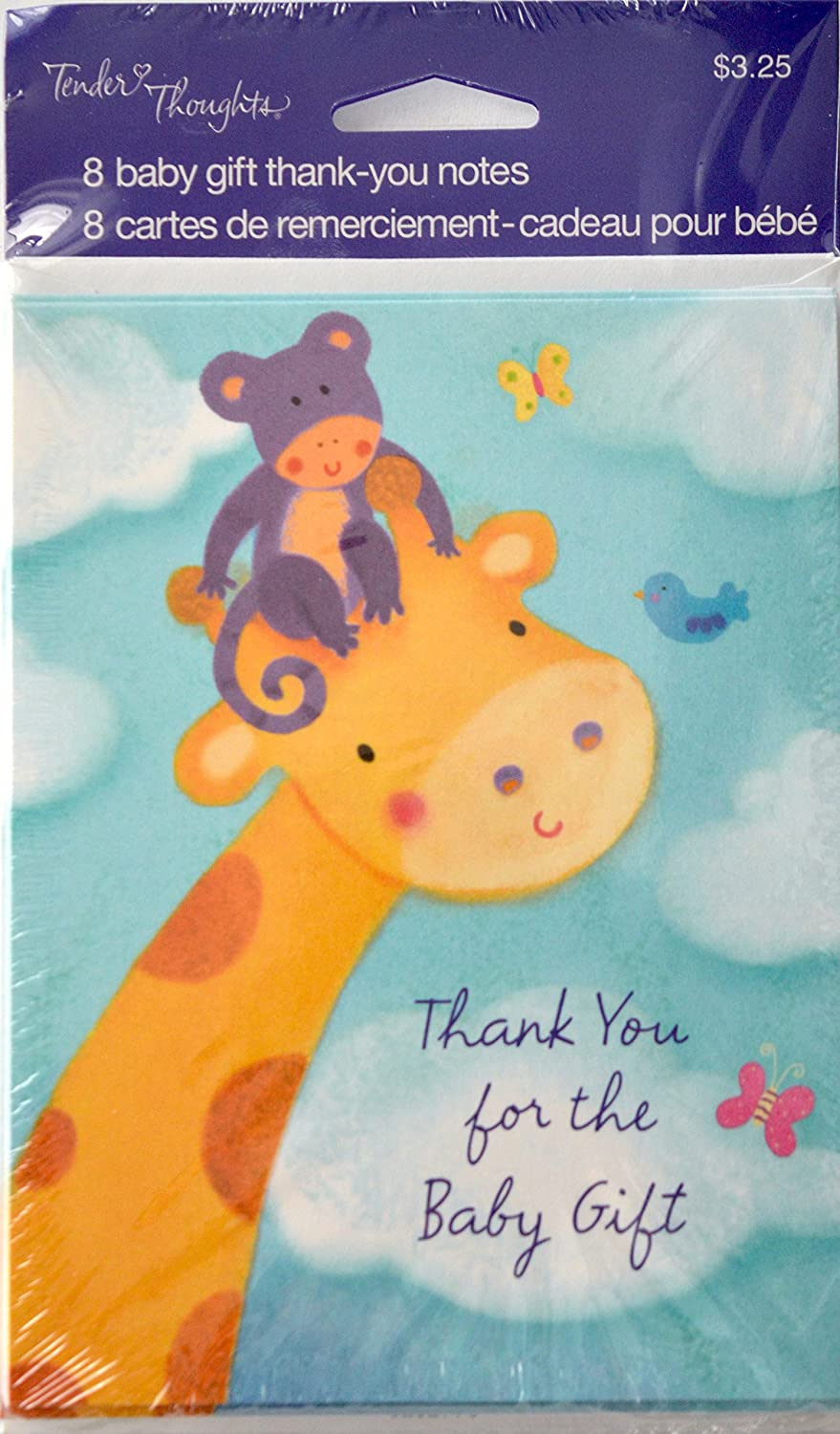 Amazon 8 baby shower thank you notes giraffe office products kristyandbryce Choice Image