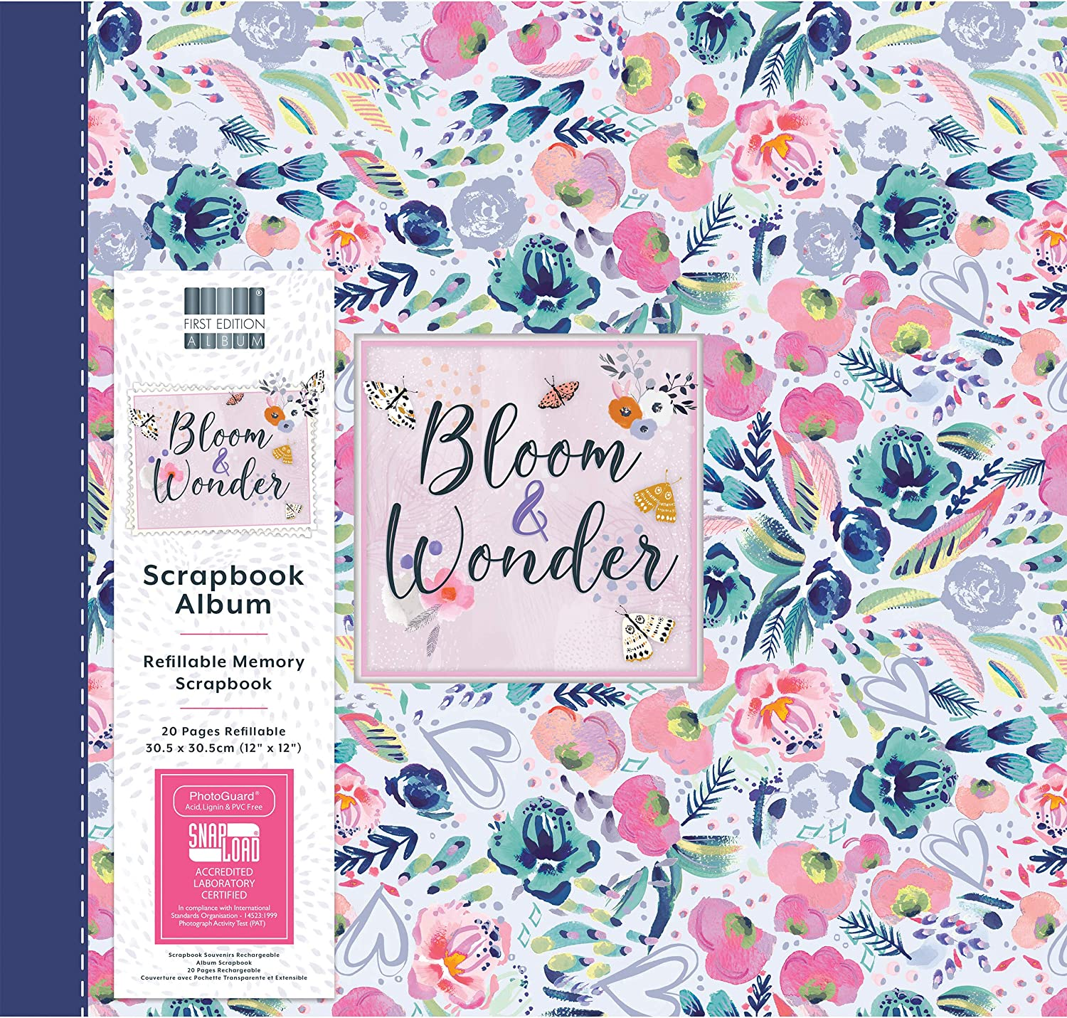 """Multicolour 12x12 10 Inserts Holds 20 Pages-Snap-Load Technology-Refillable-for Scrapbooking Journaling Photo Albums First Edition FEALB102 12/""""x12/""""/Scrapbook Bloom and Wonder/ Memory Keeping"""