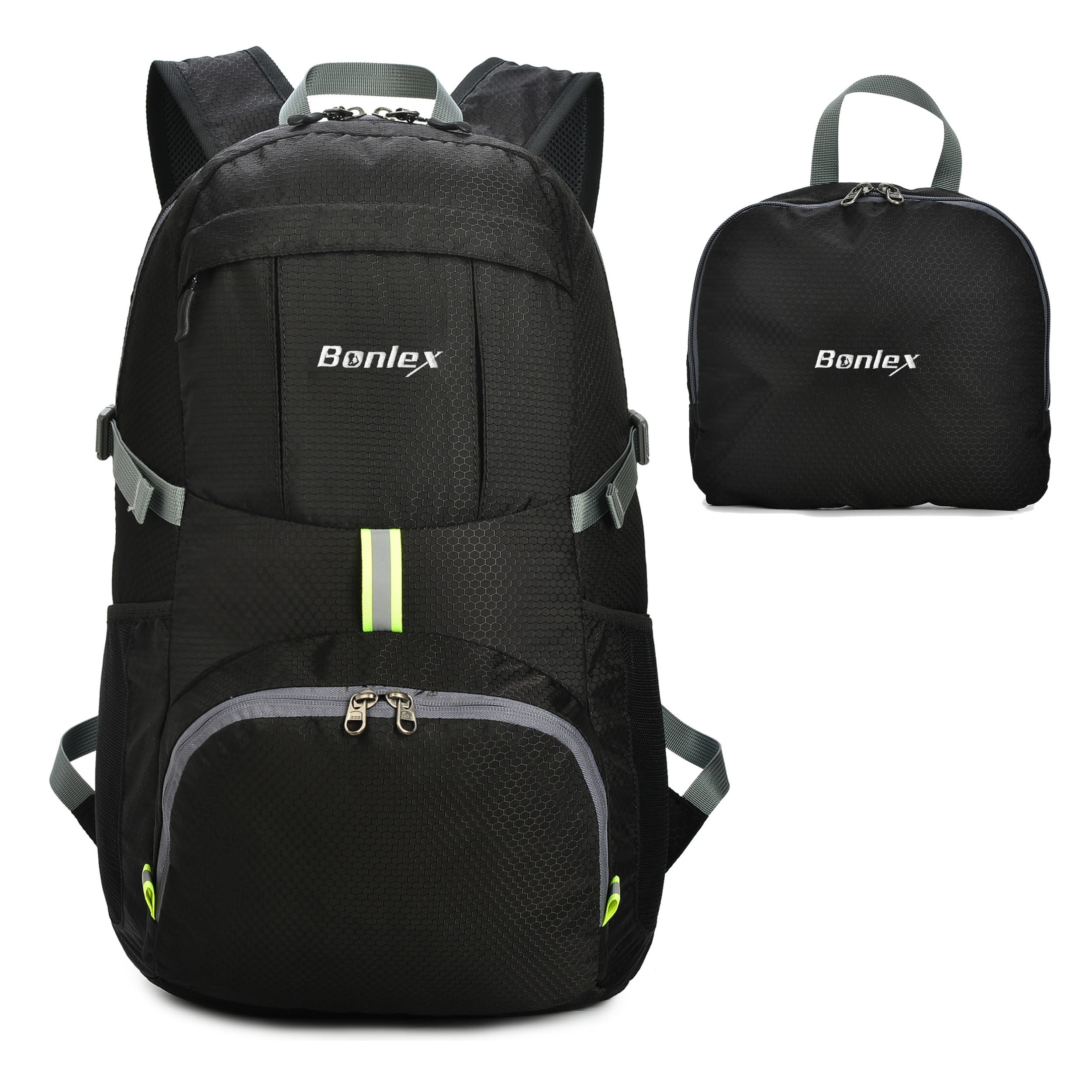 Foldable Backpack Packable Travel Backpack - 35L Durable Ultra Lightweight Water Resistant Packable Daypack Handy for Hiking,Camping,Traveling,backpacking Outdoor Sports (Black)