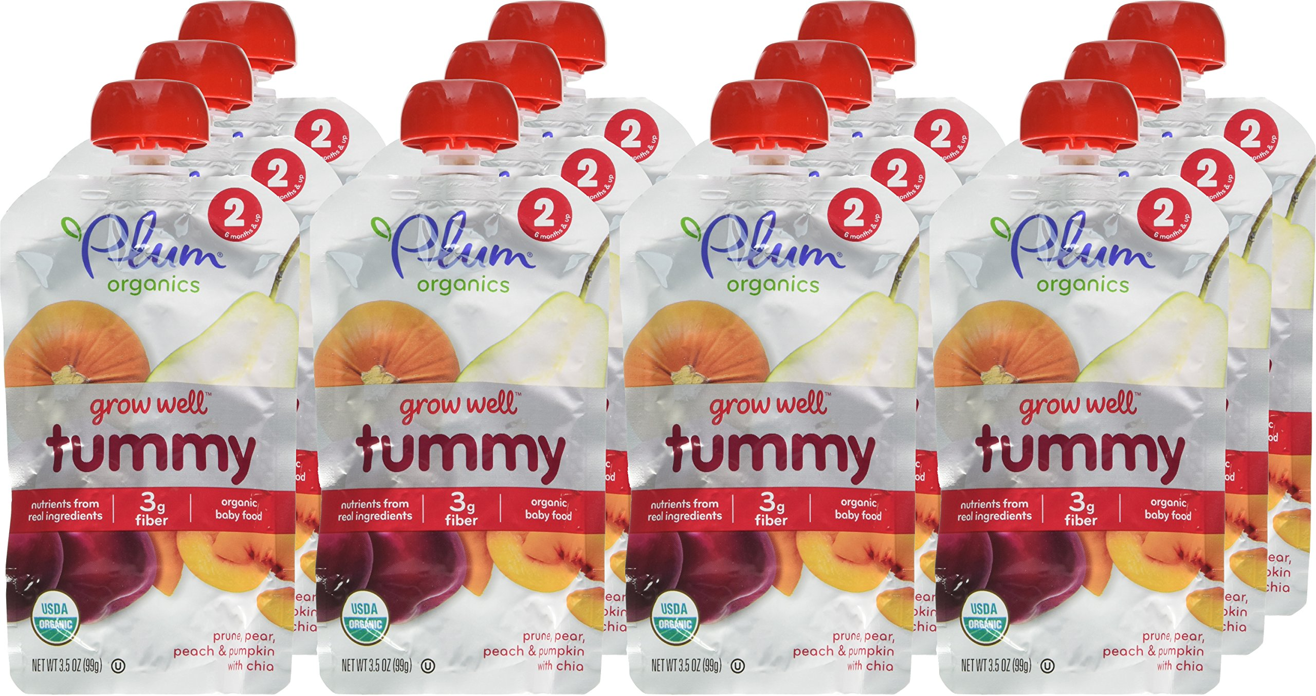 Plum Organics Baby Grow Well Food, Prune/Pear/Peach/Pumpkin with Chia Puree, 3.5 Ounce (Pack of 12) by Plum Organics (Image #2)