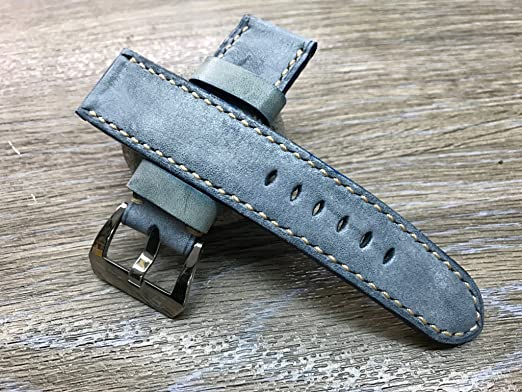 3c15a32b767 Straps handmade waxed vintage blue leather watch band real leather watch  strap jpg 522x392 Band 24mm