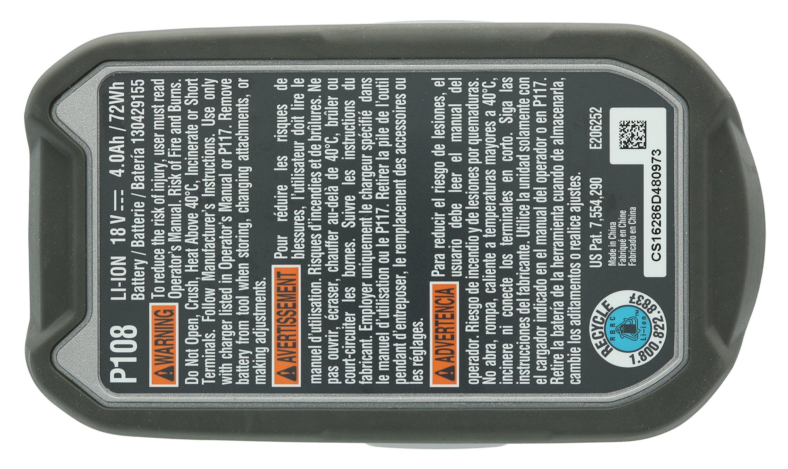 Ryobi P122 4AH One+ High Capacity Lithium Ion Batteries For Ryobi Power Tools (2 Pack of P108 Batteries) by Ryobi (Image #8)