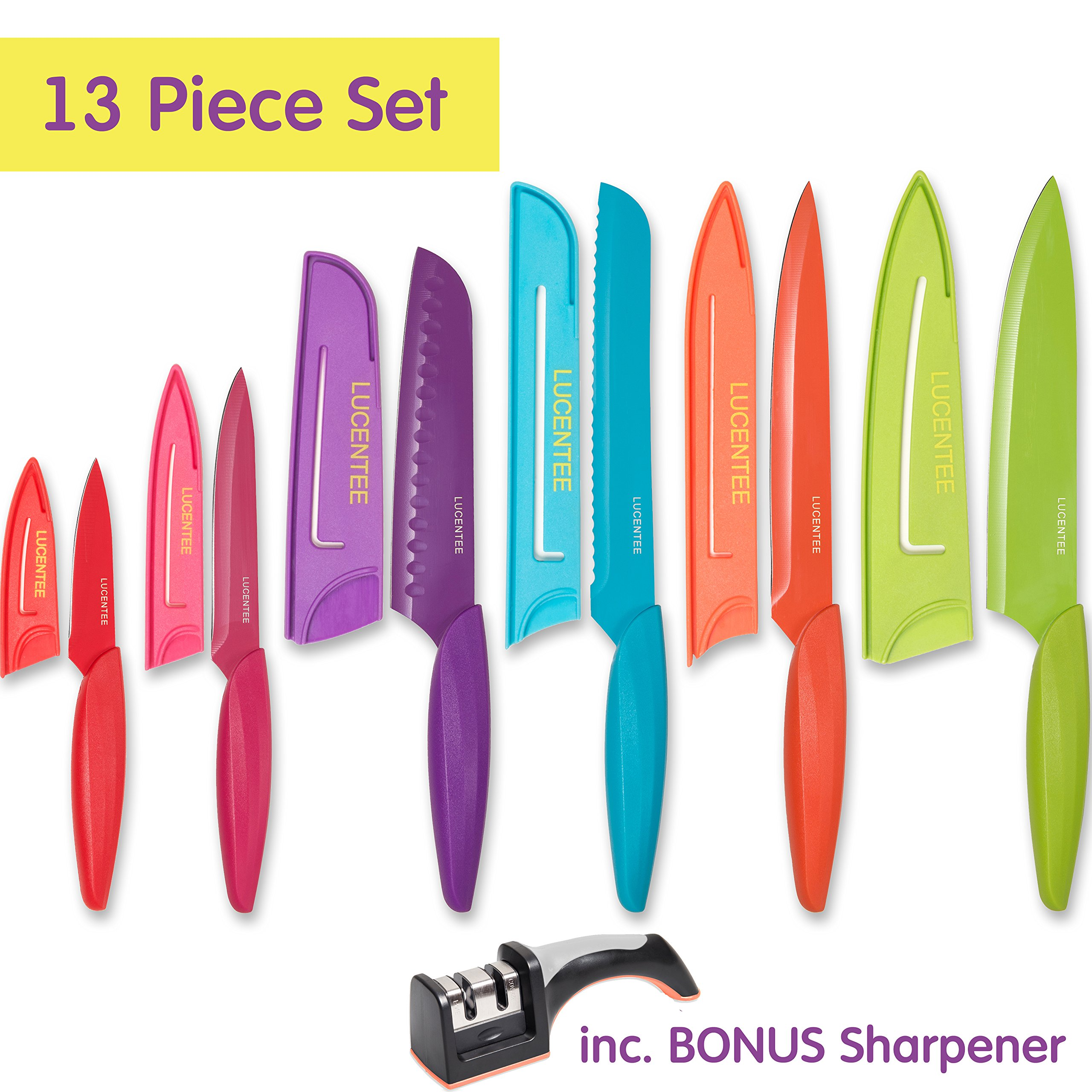 Stainless Steel Kitchen Knife Set – 13 Piece - BONUS Sharpener - 6 Knives - Chef, Bread, Carving, Paring, Utility and Santoku Knife - Cutlery Sets - Multicolor by Lucentee by LUCENTEE (Image #2)