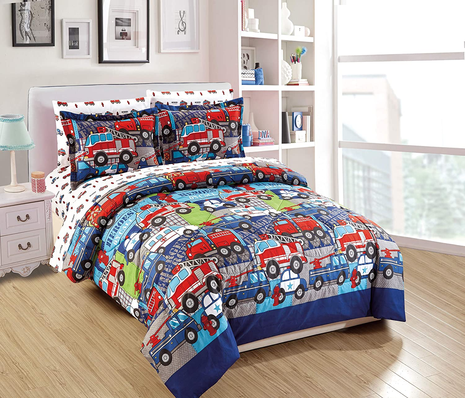 Mk Home 5pc Twin Size Comforter Set for Boys Heroes on Call Firetruck Police Car Ambulance Red Blue White New