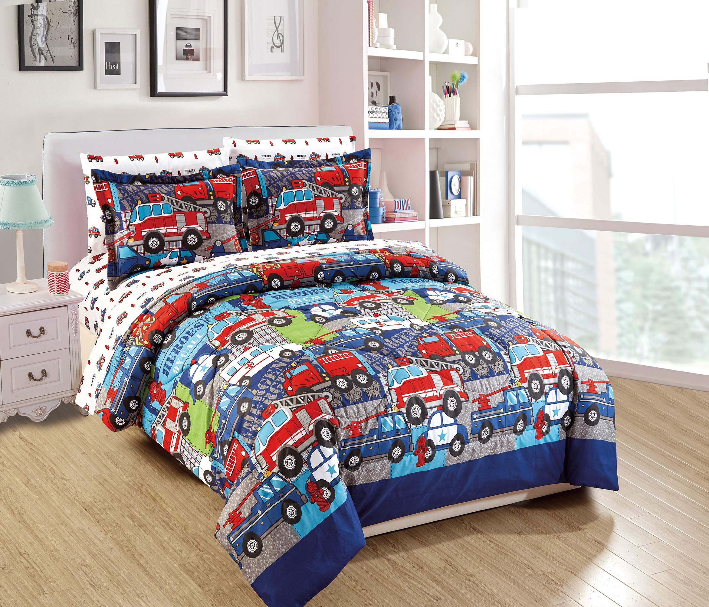 Twin Size 5pc Comforter Set for Kids Heroes Fire Fighter Fire Trucks Police Car Ambulance Paramedic Navy Blue Red White Light Blue Grey Green New by Linen Plus