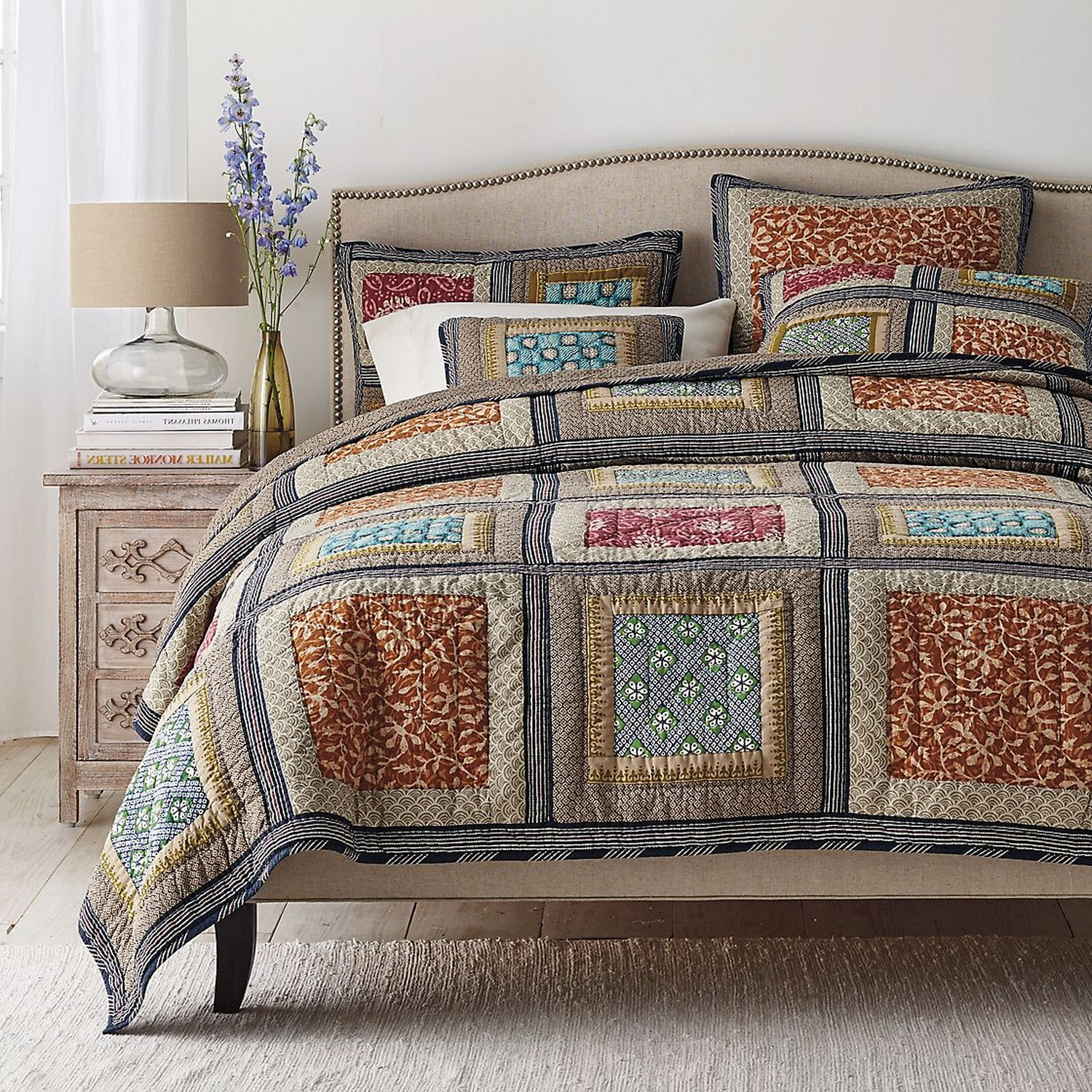 Dada Bedding Collection Reversible Bohemian Real Patchwork Gallery of Roses Cotton Quilt Bedspread Set, Multi-Colored, King, 3-Pieces by DaDa Bedding Collection