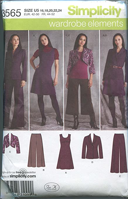 Simplicity 3565 Sewing Pattern Misses Full Figure Dress Jumper Pants ...