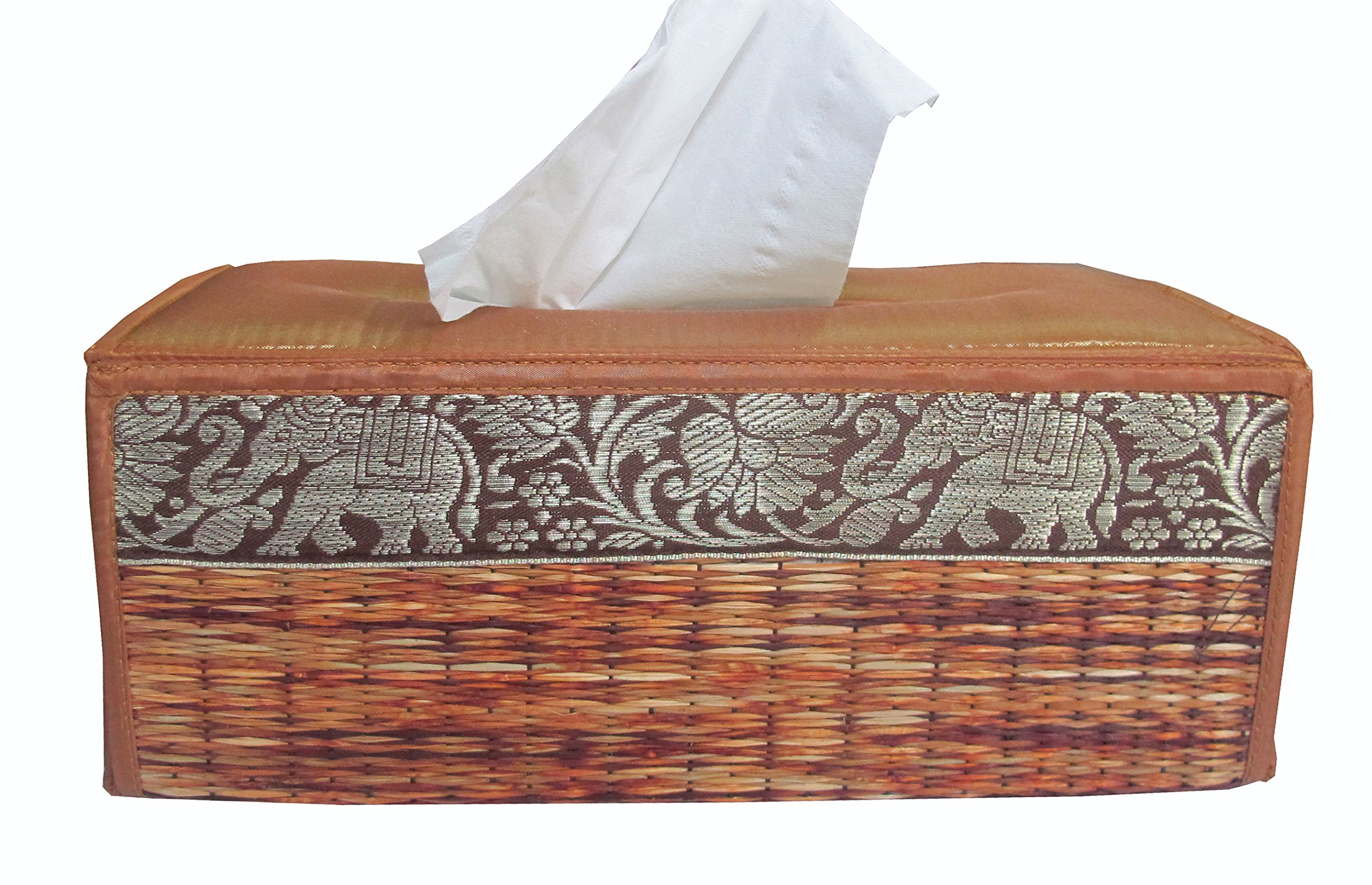 Handmade Rectangular Woven Tissue Box Cover Made From Thai Natural Reed Straw with Striped Elephant Design by Thaiwallmart