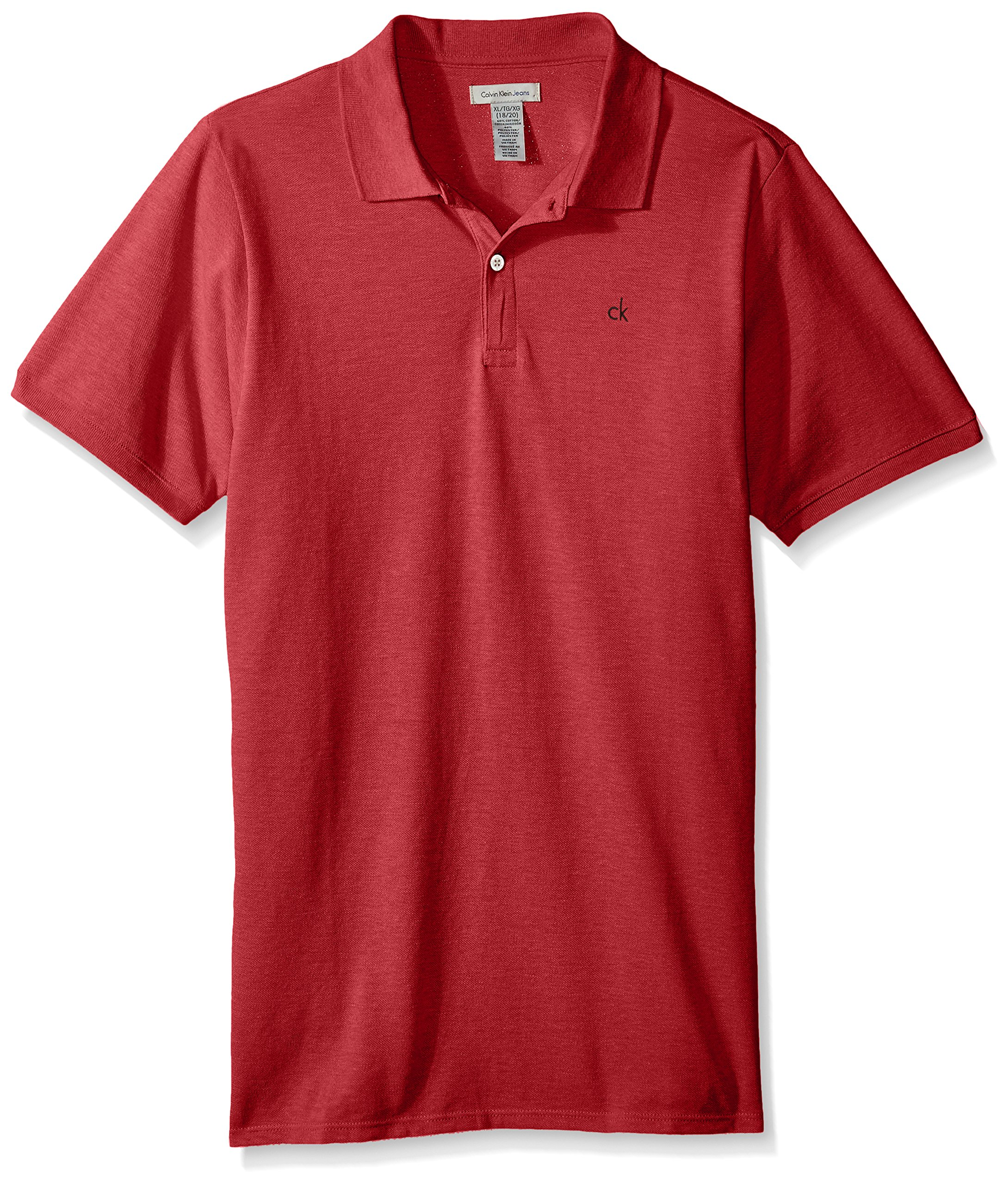 Calvin Klein Boys' Big Solid Pique Polo, DKREDHT, Medium (10/12)