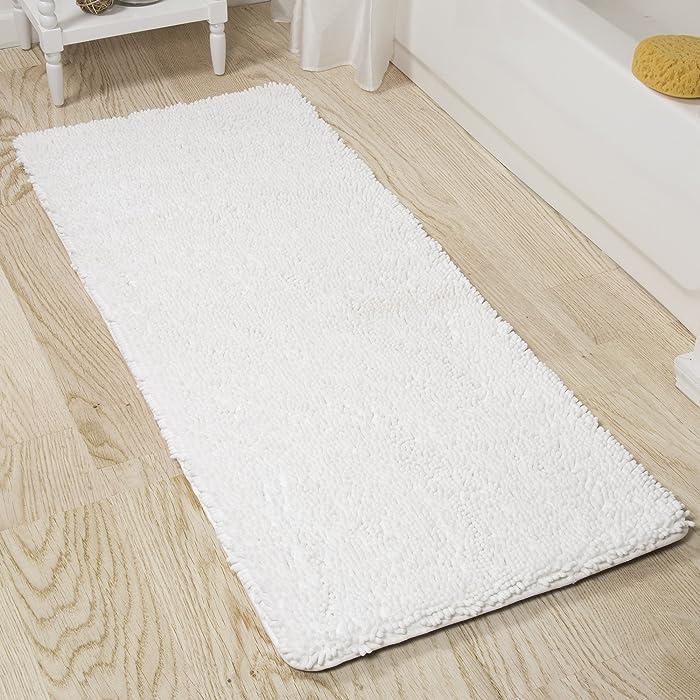 Lavish Home Memory Foam Shag Bath Mat 2-Feet by 5-Feet - White