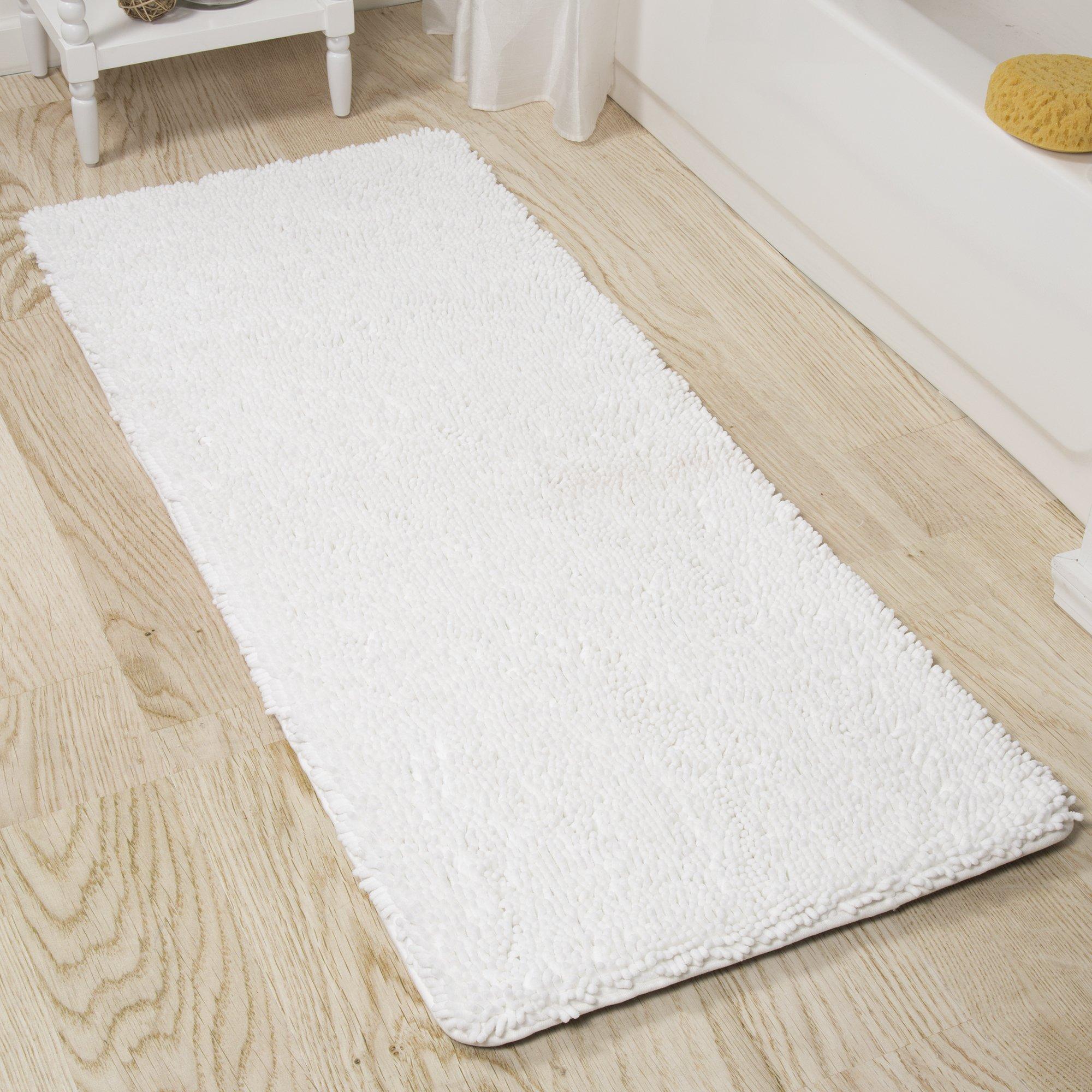 Bedford Home Memory Foam Shag Bath Mat 2-Feet by 5-Feet - White
