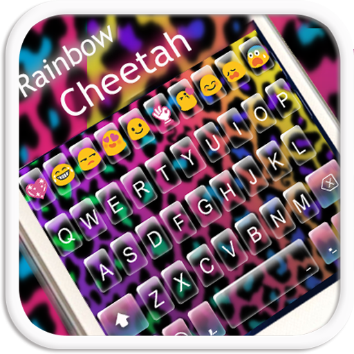 Rainbow Cheetah Emoji Keyboard Theme