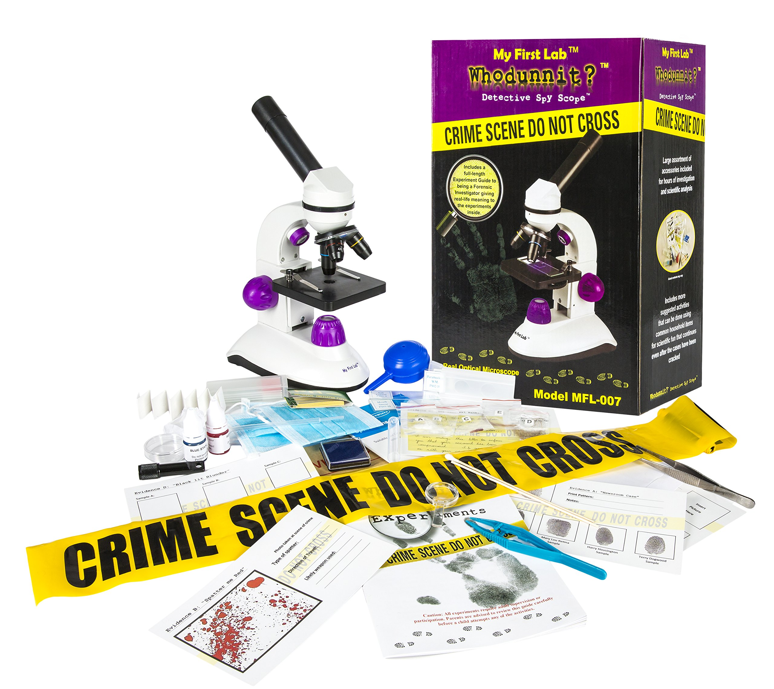 My First Lab Whodunnit? Microscope and Forensic Accessory Kit - Recreate and Solve a Crime Scene, Real Glass Optics with 10X Eyepiece, 4X, 10X, 40X Magnification by C & A Scientific