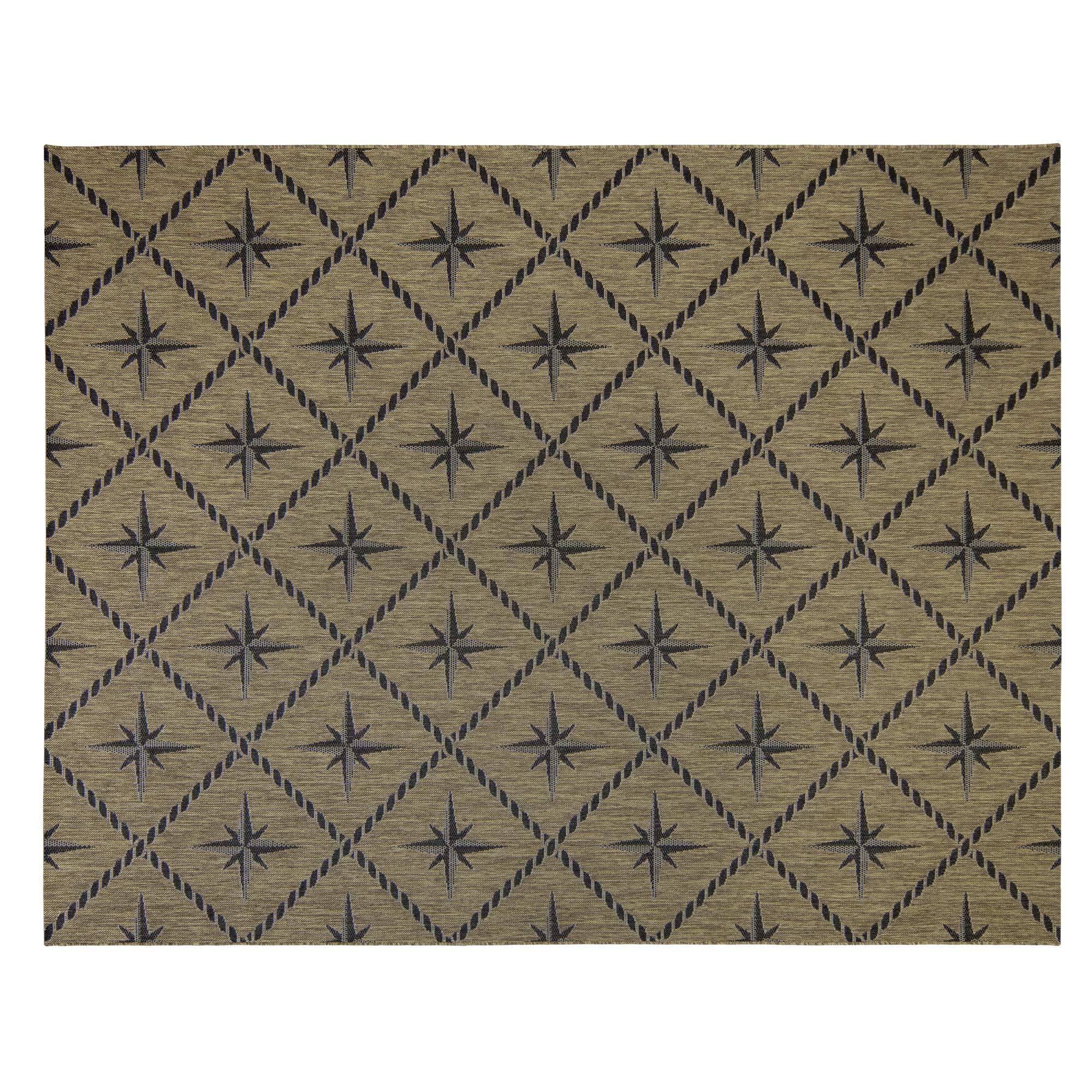 Gertmenian 21634 Coastal Tropical Carpet Outdoor Patio Rug, 8x10 Large, Brown North Star