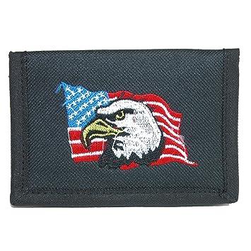 Parquet Cartera Triple de Gancho y Lazo con Bandera Americana y Bordado de águila para Hombre Talla única Negro: Amazon.es: Equipaje
