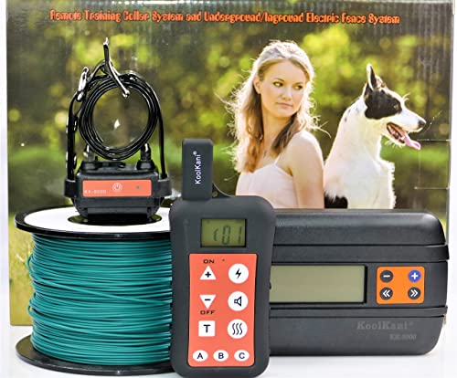 KoolKani Dog Containment In-ground Underground Electric Fence with Waterproof Collar 1-Dog Fence Trainer