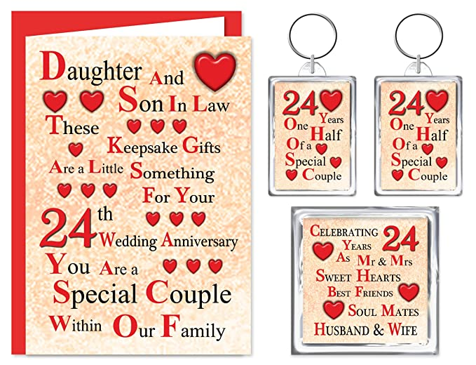 Daughter Son In Law 24th Wedding Anniversary Gift Set Card 2