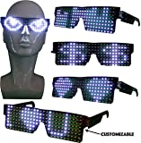 CYB Customizable LED Light Up Glasses for Raves, Parties, Music Festivals, Halloween with USB (White)