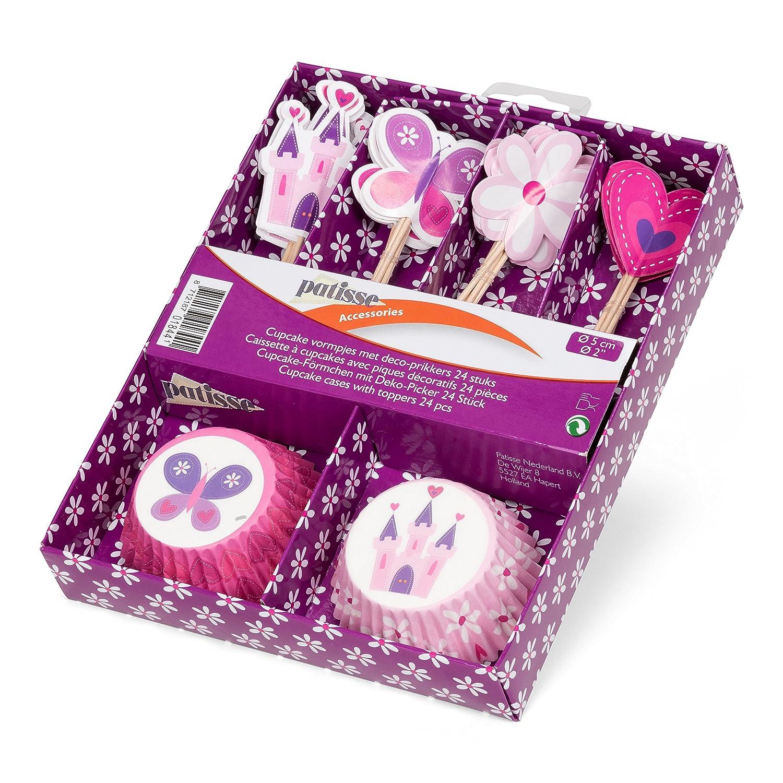 Pink Papier patisse Cupcake-F/örmchen mit Deko-Picker 5 x 5 x 5 cm 24-Einheiten