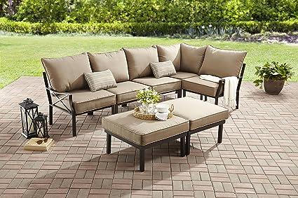 Amazon Com Mainstays Sandhill 7 Piece Outdoor Sofa Sectional Set